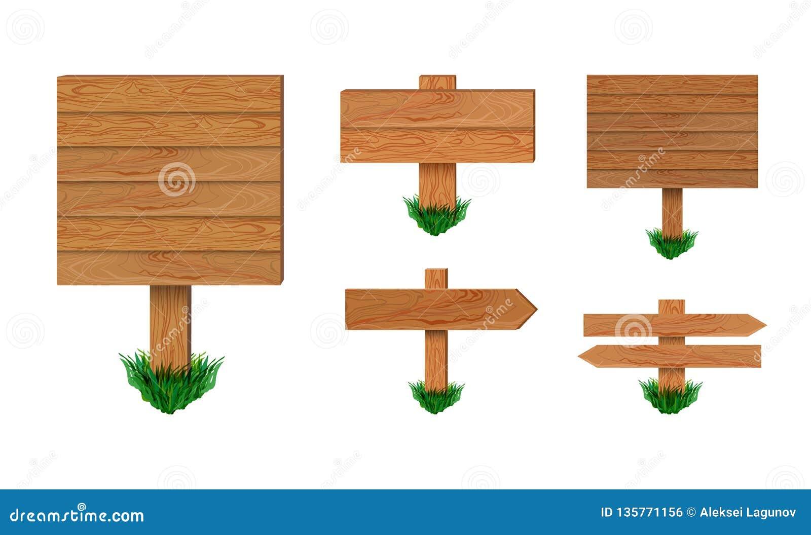 Ensemble en bois d enseignes de vecteur d isolement sur le fond blanc, collection en bois de signe de flèche