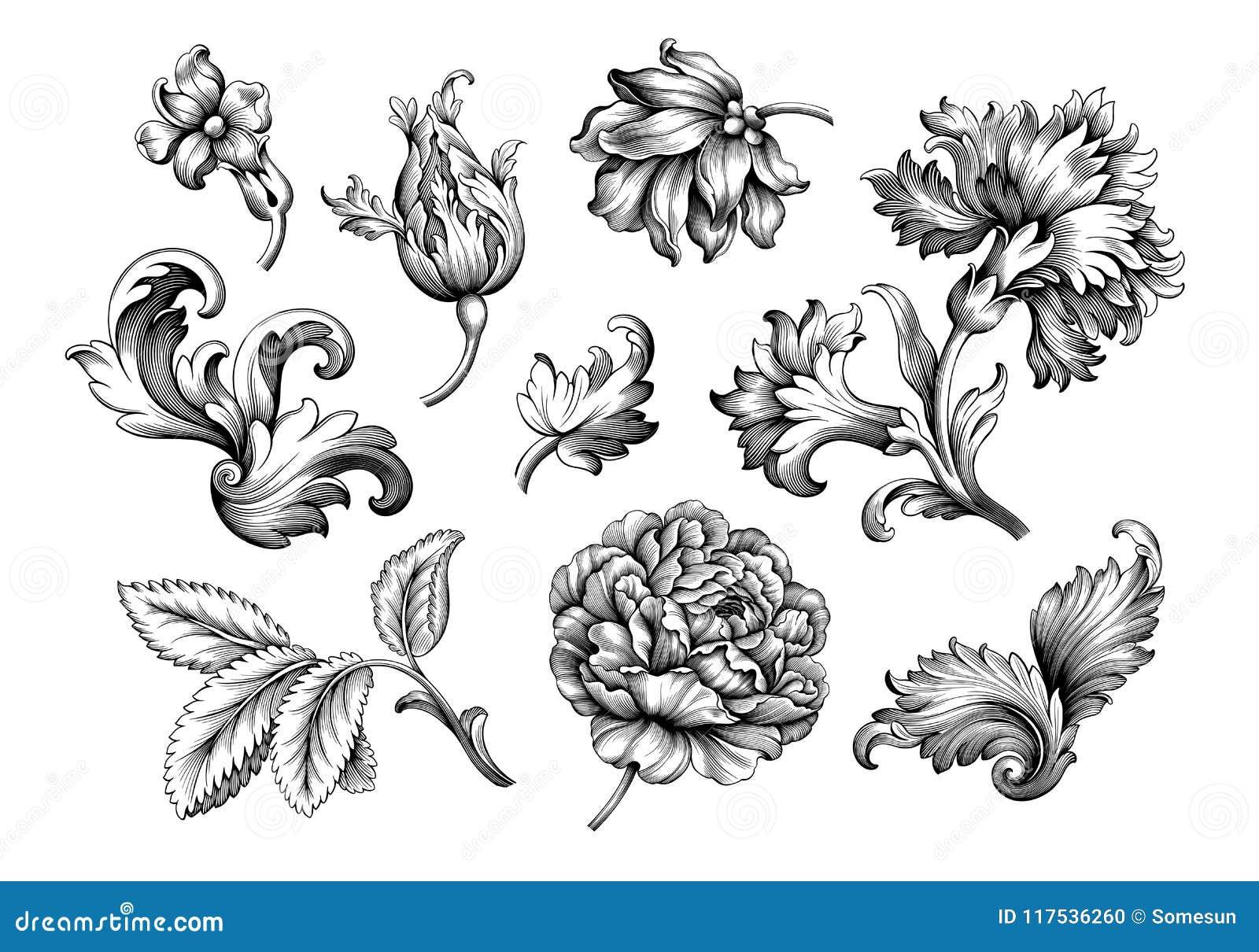 Ensemble en filigrane de vecteur de rétro tatouage de modèle gravé par rouleau victorien baroque d ornement floral de frontière d