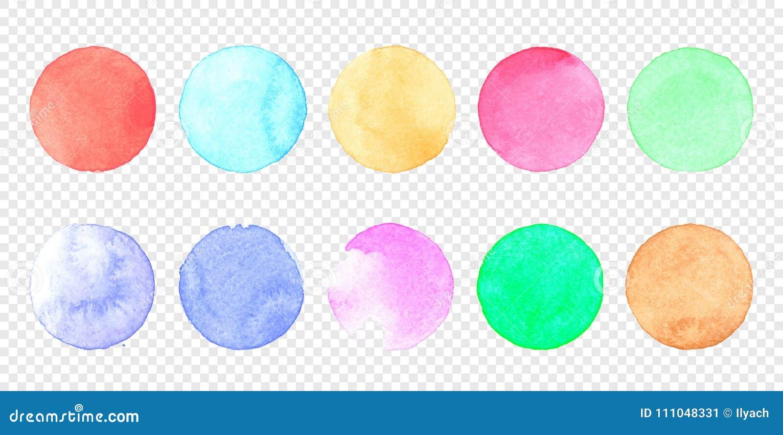Ensemble en pastel de cercle d aquarelle de vecteur Calomnie de couleur de tache pour aquarelle d éclaboussure sur le fond transp