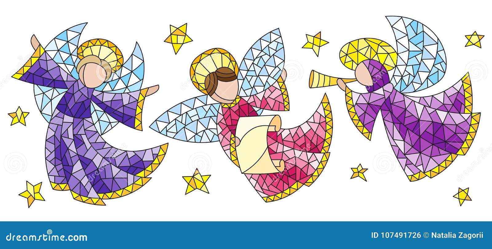 Ensemble en verre souillé avec des anges et étoiles, chiffres colorés sur un fond blanc