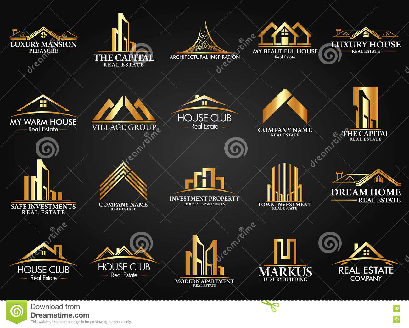 Ensemble et groupe Real Estate, bâtiment et construction Logo Vector Design