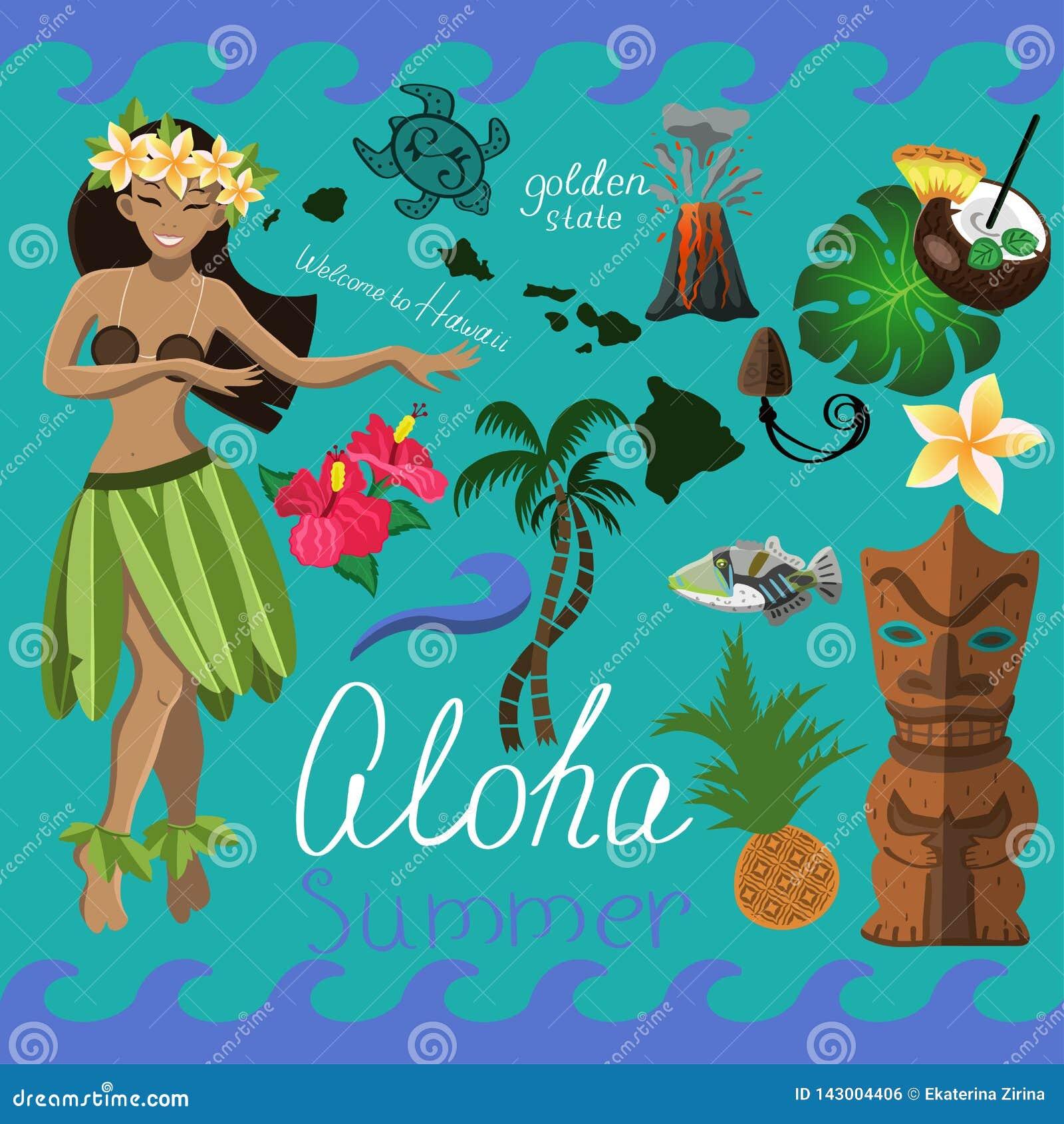 Ensemble hawaïen d été d éléments