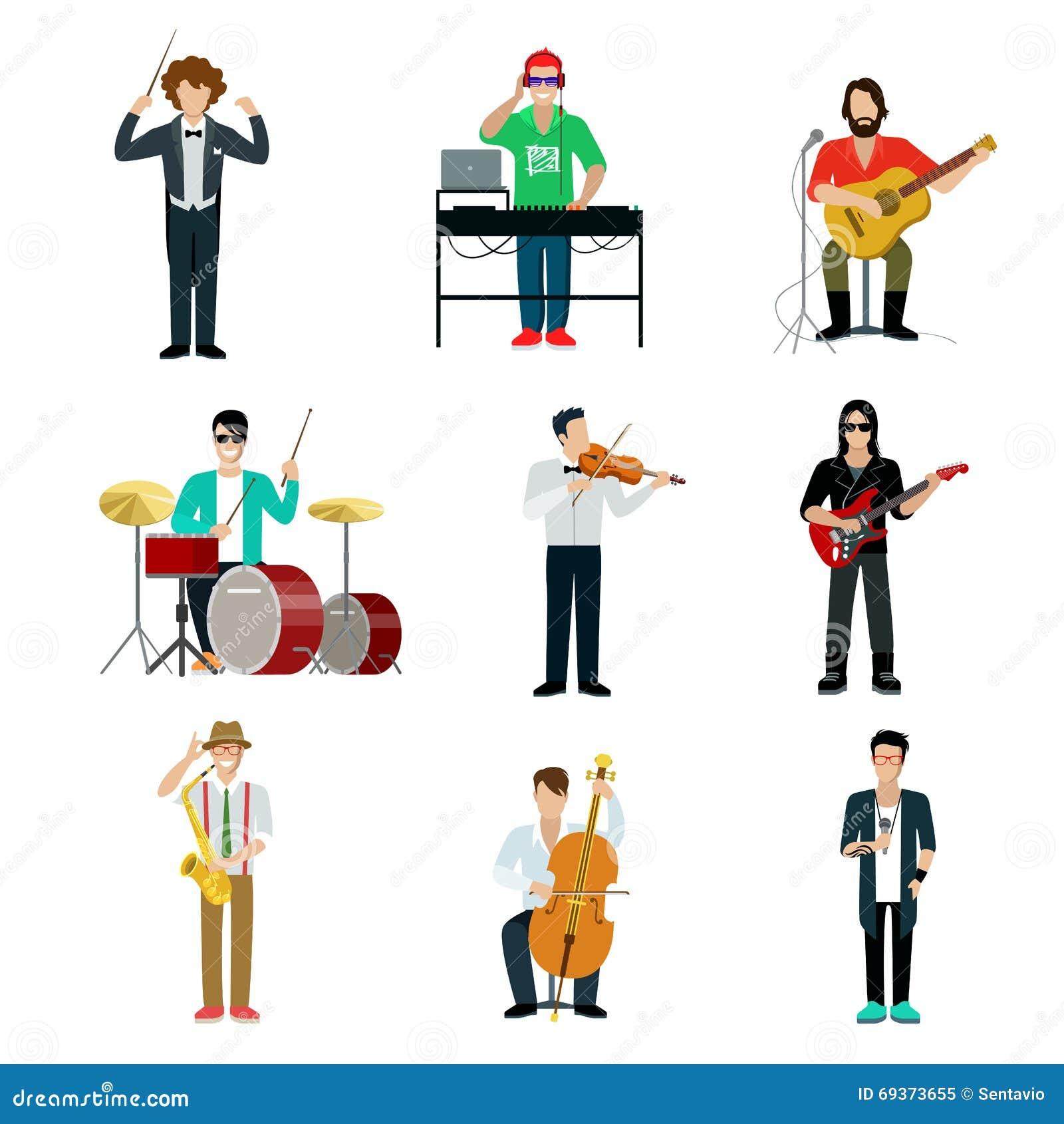 Ensemble infographic d icône de vecteur de concept de Web plat de metteur en scène de musiciens