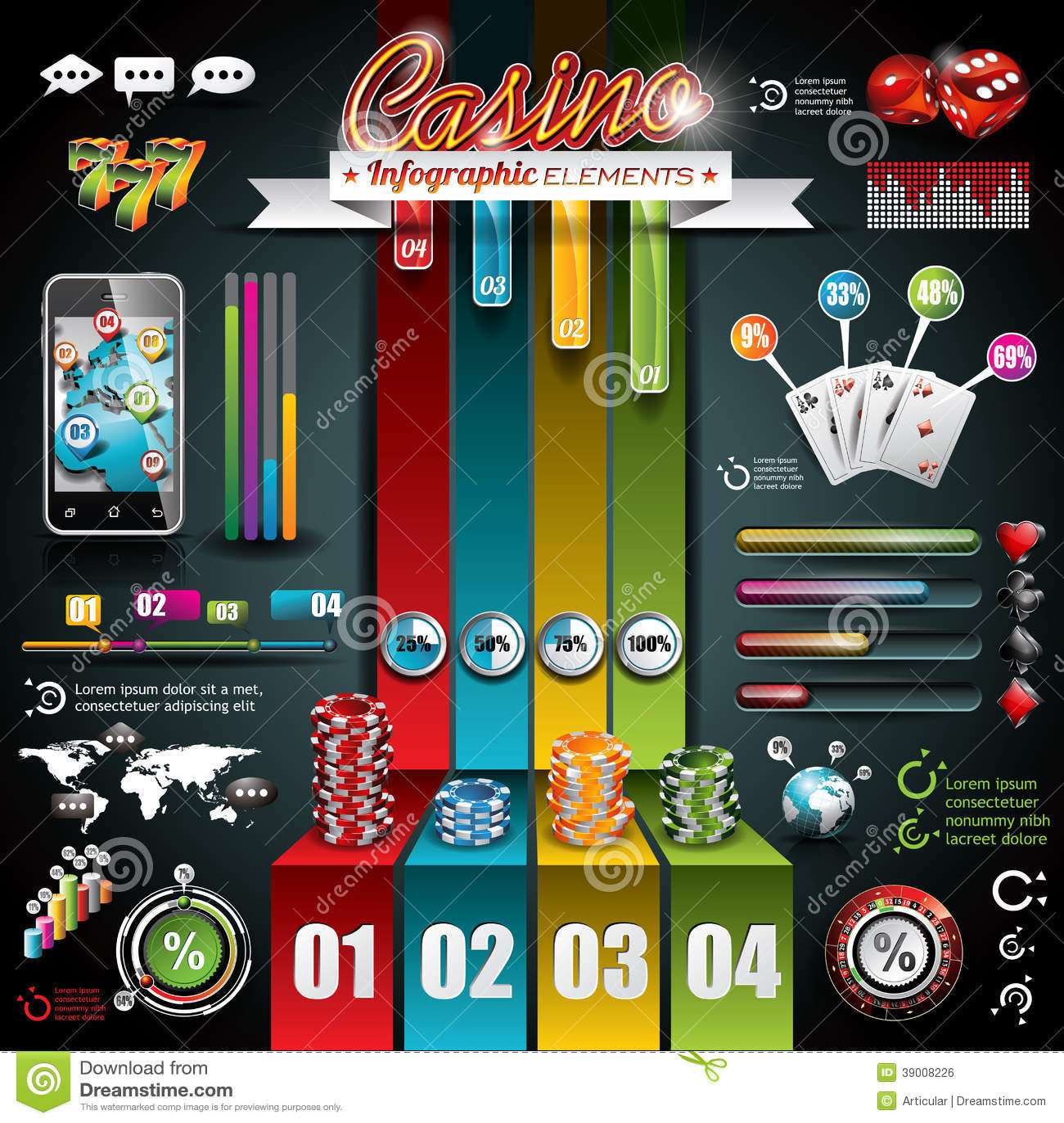 Ensemble infographic de casino de vecteur