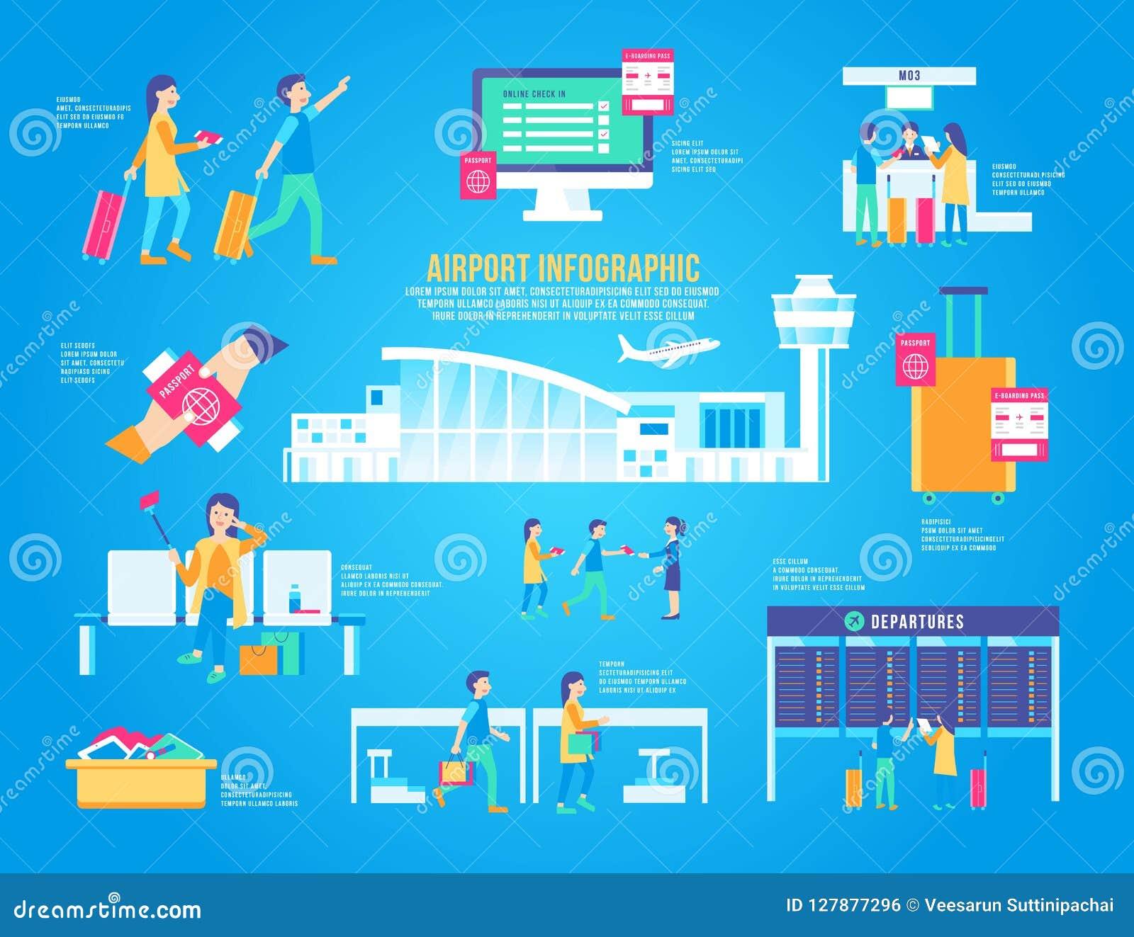 Ensemble infographic plat de vecteur d aéroport, terminal de conception, graphique d icône, transport, fond de voyage moderne, pa