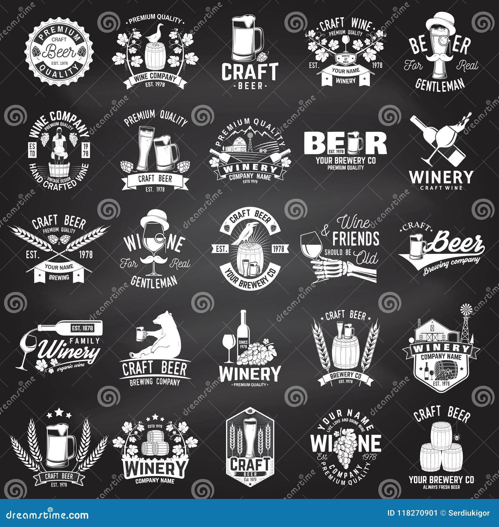 Ensemble insigne de métier de bière et d établissement vinicole de société, signe ou label Illustration de vecteur
