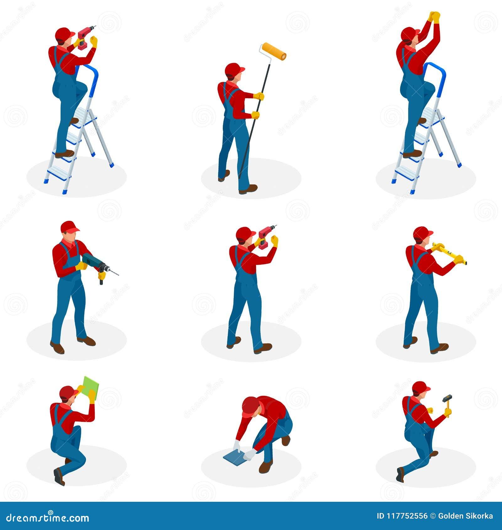 Ensemble isométrique avec les travailleurs à la maison de réparation faisant l entretien, personnes industrielles de travailleurs