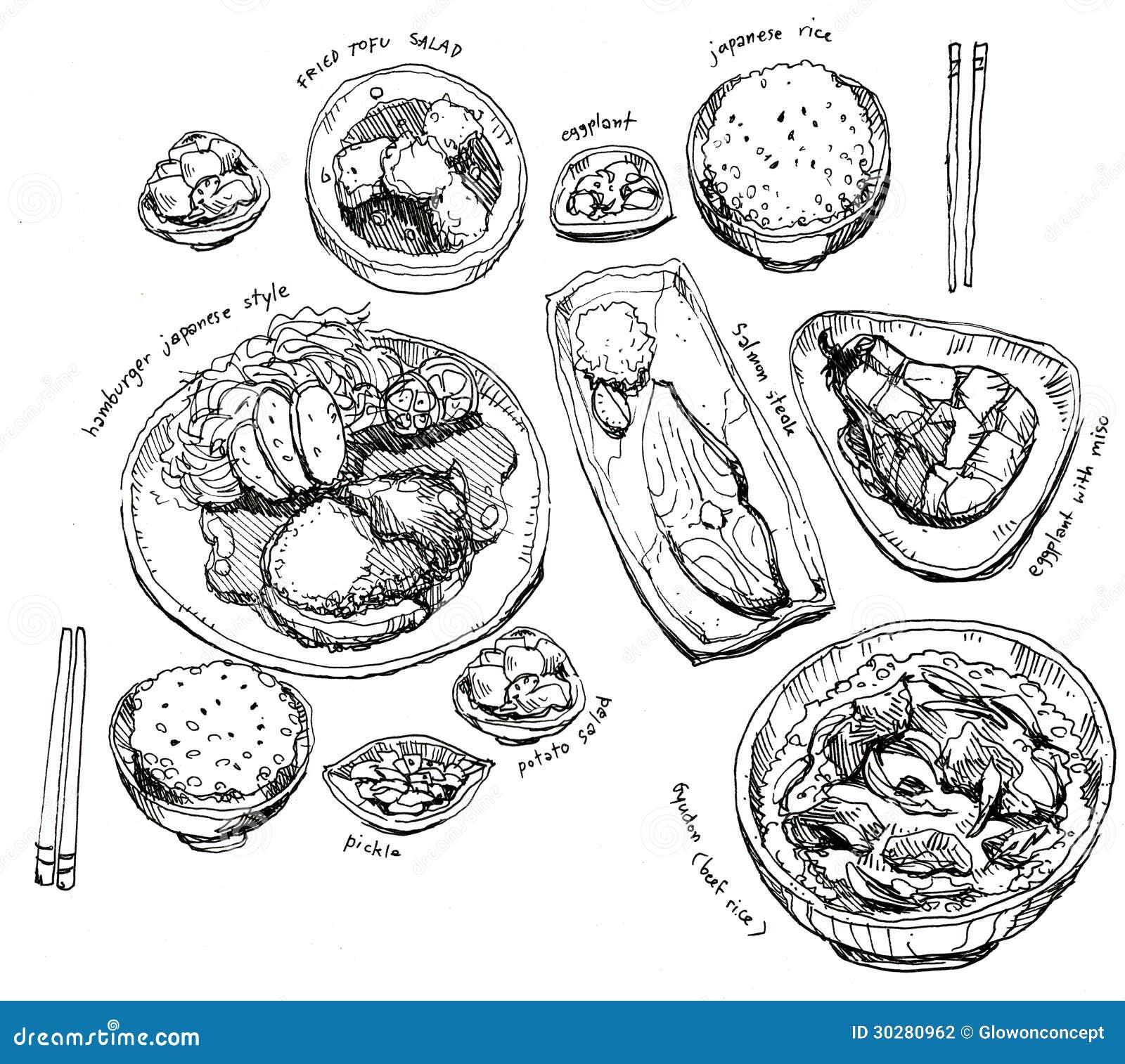 Ensemble japonais de nourriture