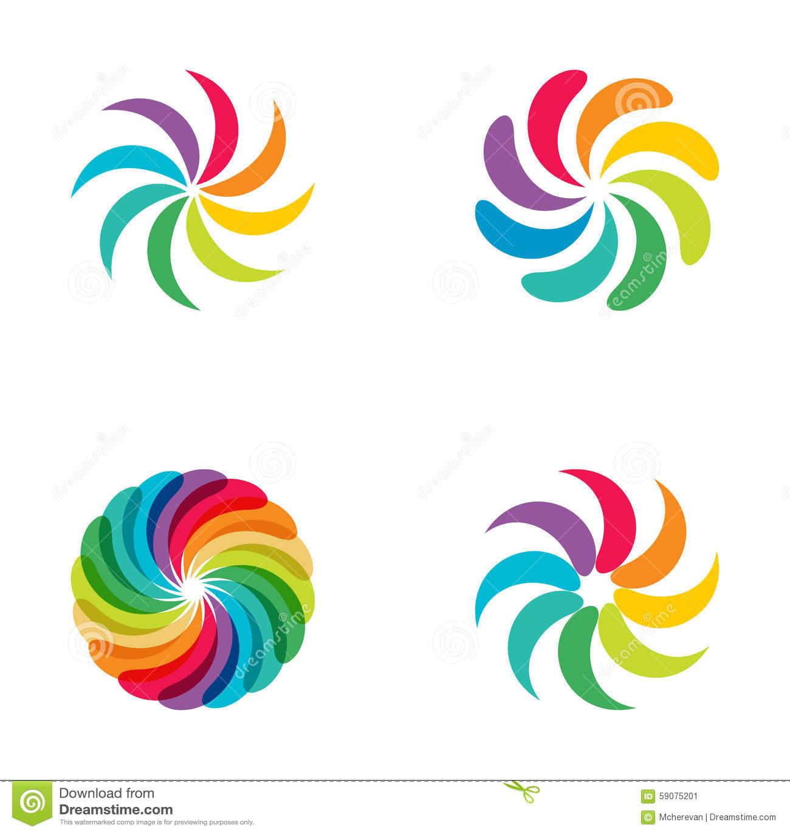 ensemble lumineux de logo de fleur d 39 arc en ciel de couleurs illustration stock image 59075201. Black Bedroom Furniture Sets. Home Design Ideas