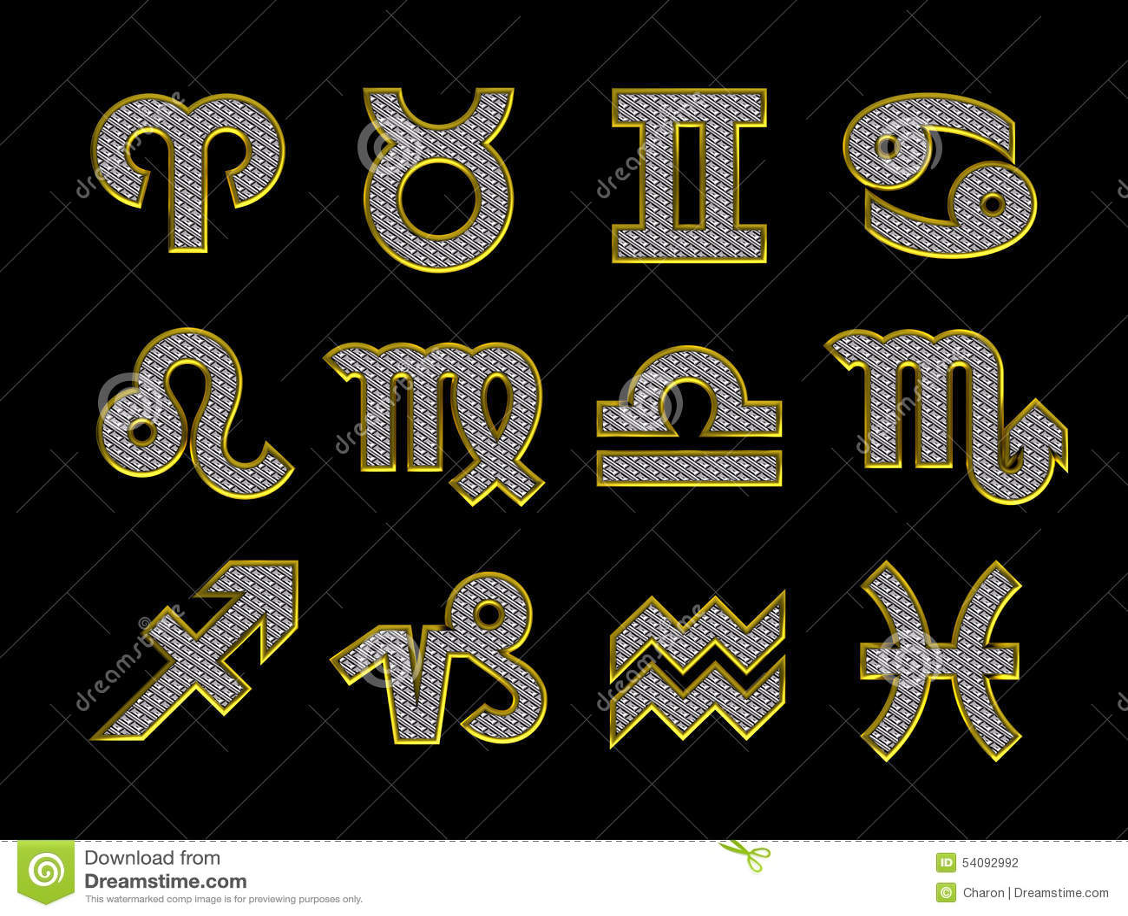 ensemble m tallique d 39 horoscope de 12 signes de zodiaque photo stock image 54092992. Black Bedroom Furniture Sets. Home Design Ideas
