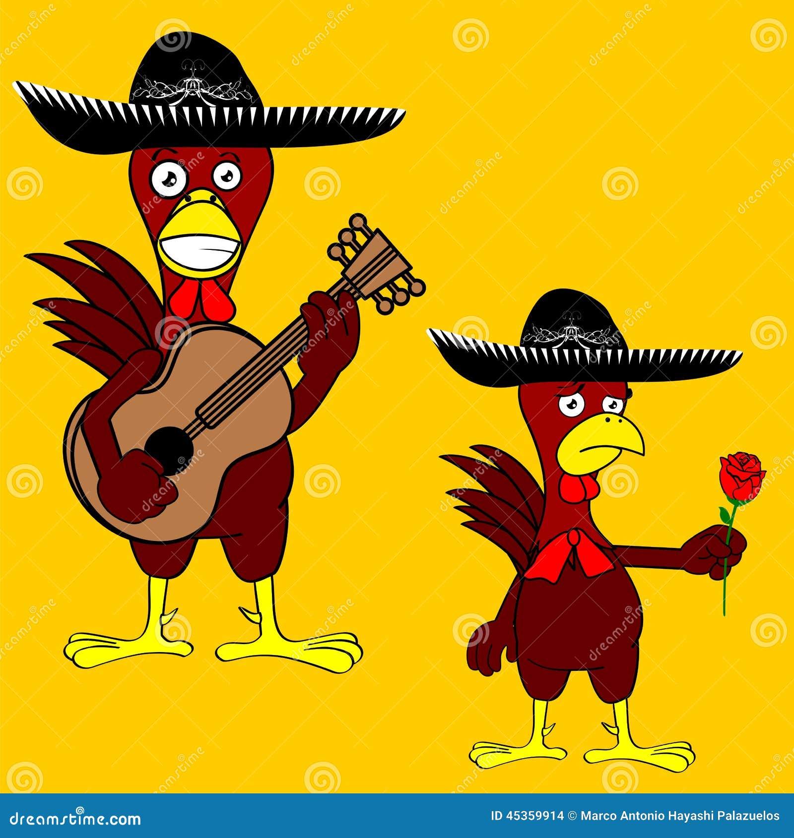 Ensemble mexicain de mariachi de poulet