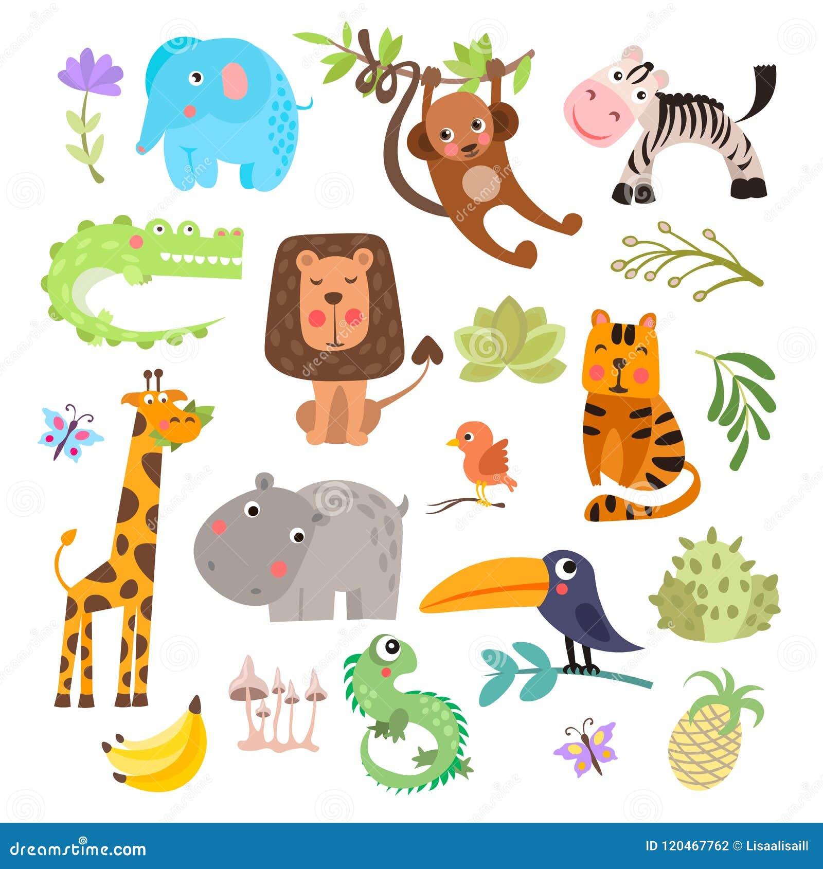 Ensemble mignon d animaux et de fleurs de safari La savane et animaux drôles de bande dessinée de safari Ensemble de vecteur d an