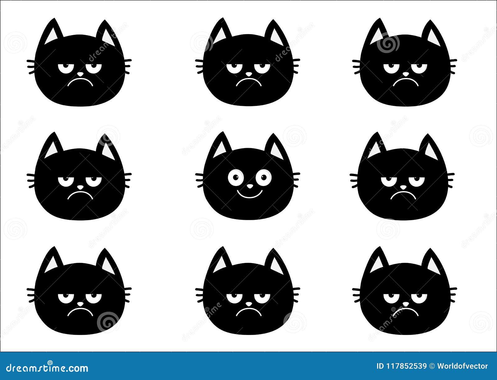 Ensemble Mignon De Chat Noir Collection D Emotion Heureux Sourire