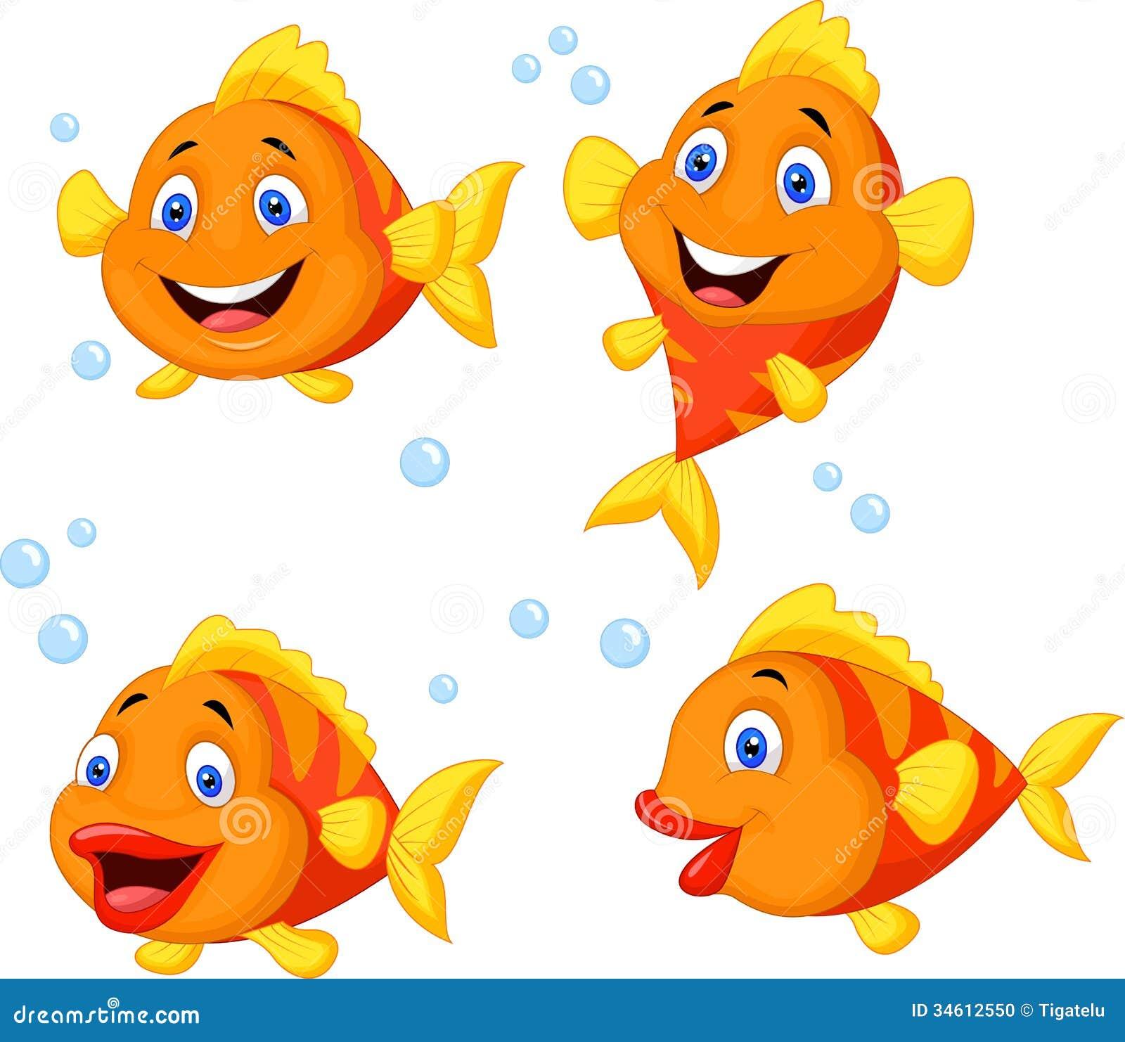 Ensemble mignon de collection de bande dessinée de poissons