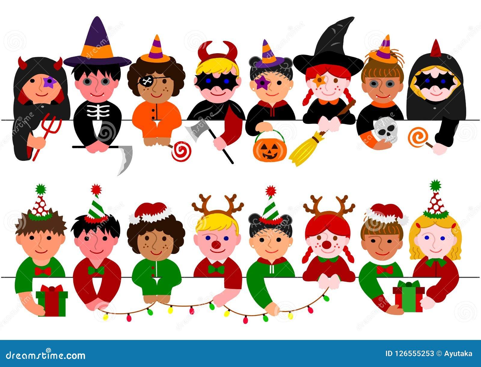Ensemble mignon de frontière d enfants, avec des costumes de Halloween et avec des costumes de Noël