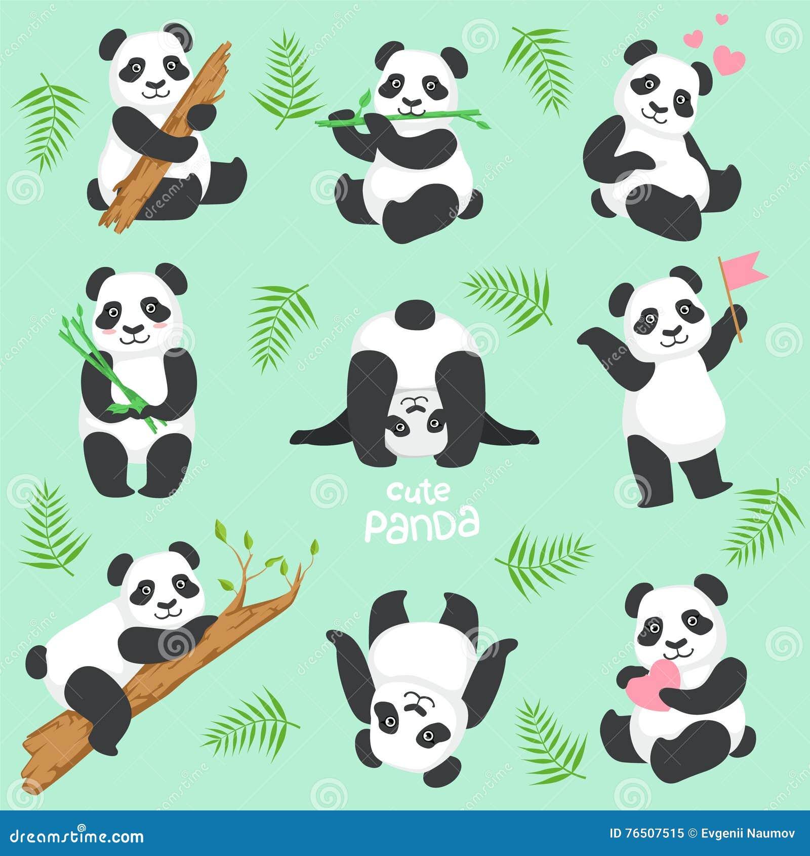 Ensemble mignon de Panda Character In Different Situations