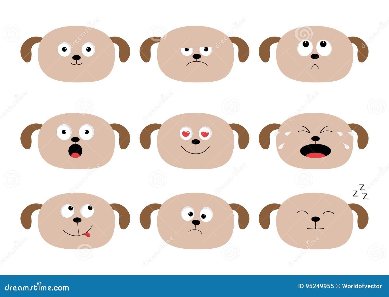 Ensemble mignon de tête de chien Caractères de monstre dans la ville Collection d émotion Heureux, étonné, pleurant, chiot triste