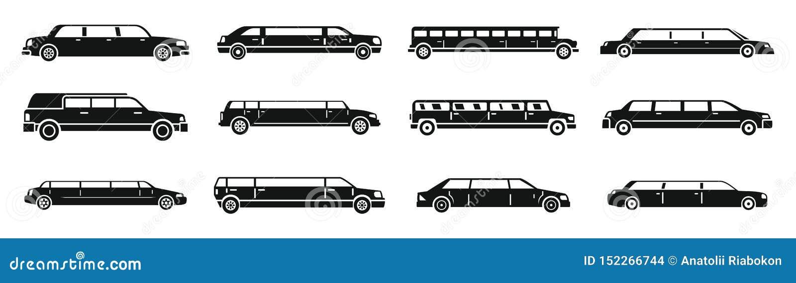 Ensemble moderne d icônes de limousine, style simple