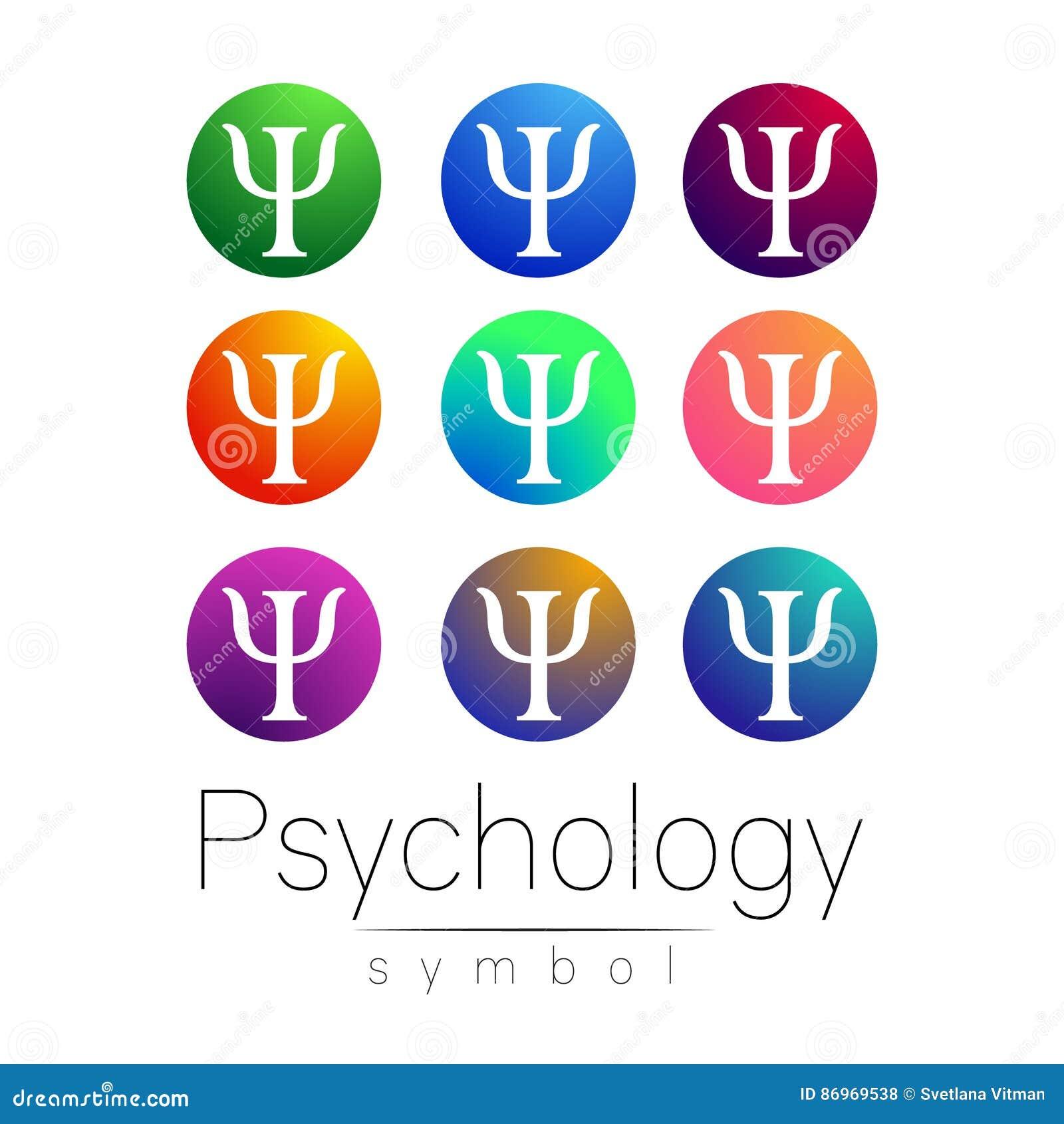 Ensemble moderne de signe de psychologie Type créateur Icône dans le vecteur Lettre lumineuse de couleur sur le fond blanc Symbol
