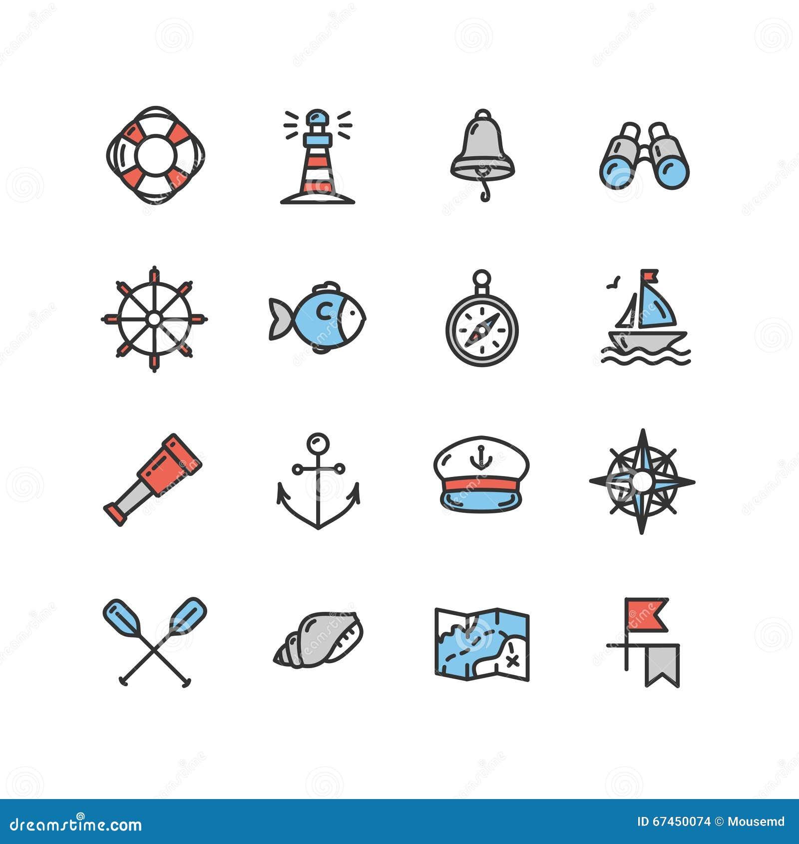 Ensemble nautique d icône de mer Vecteur