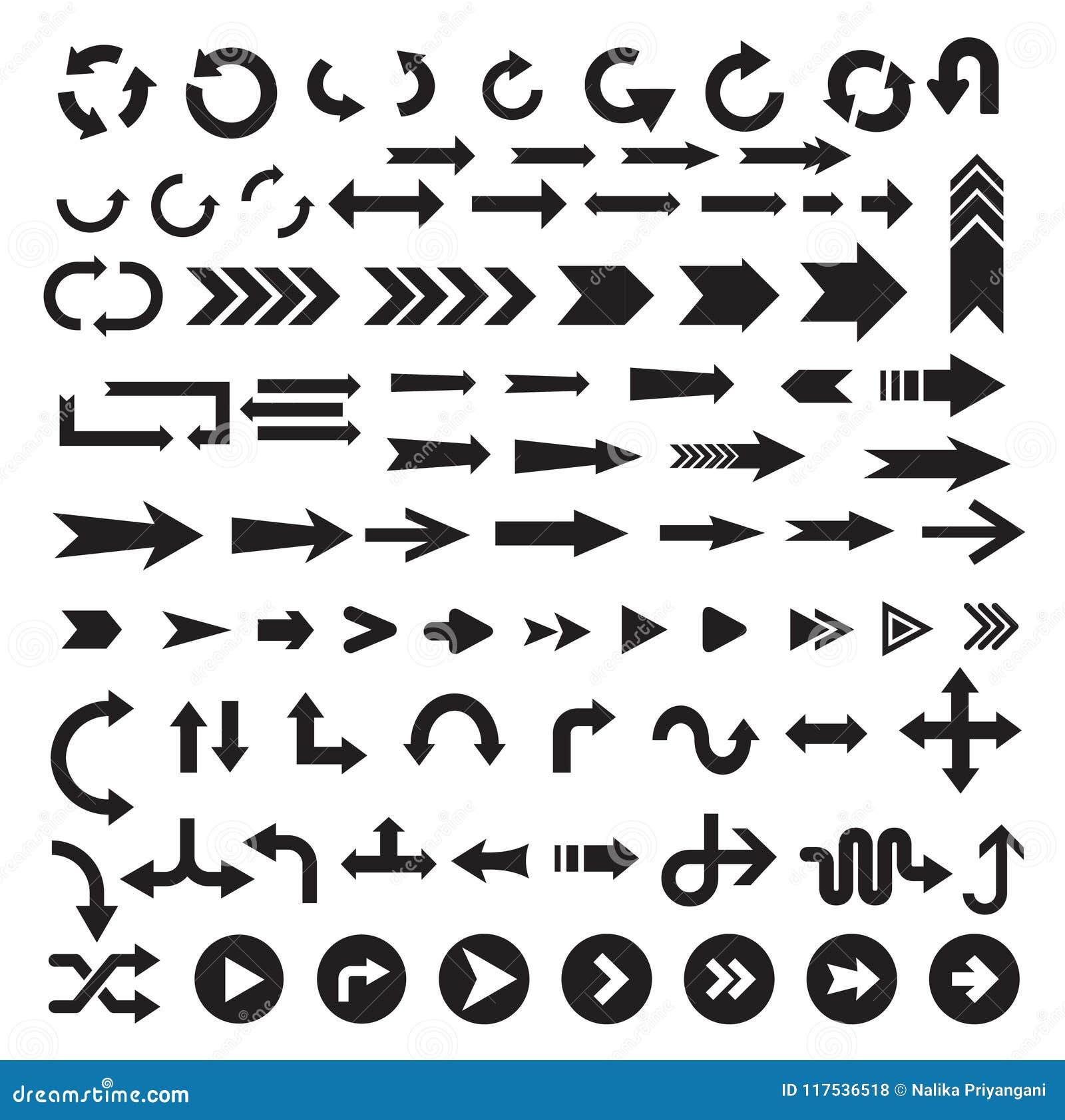 Ensemble noir d icône de signe de flèche