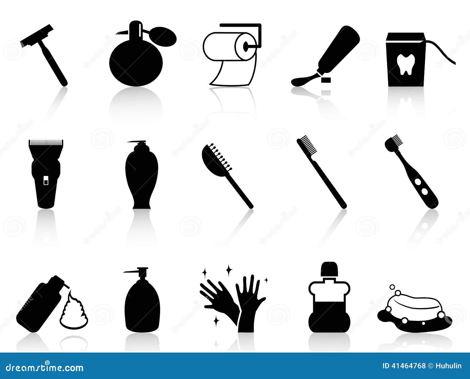 Ensemble noir d 39 ic ne d 39 accessoires de salle de bains illustration de vecteur illustration du - Accessoire salle de bain noir ...