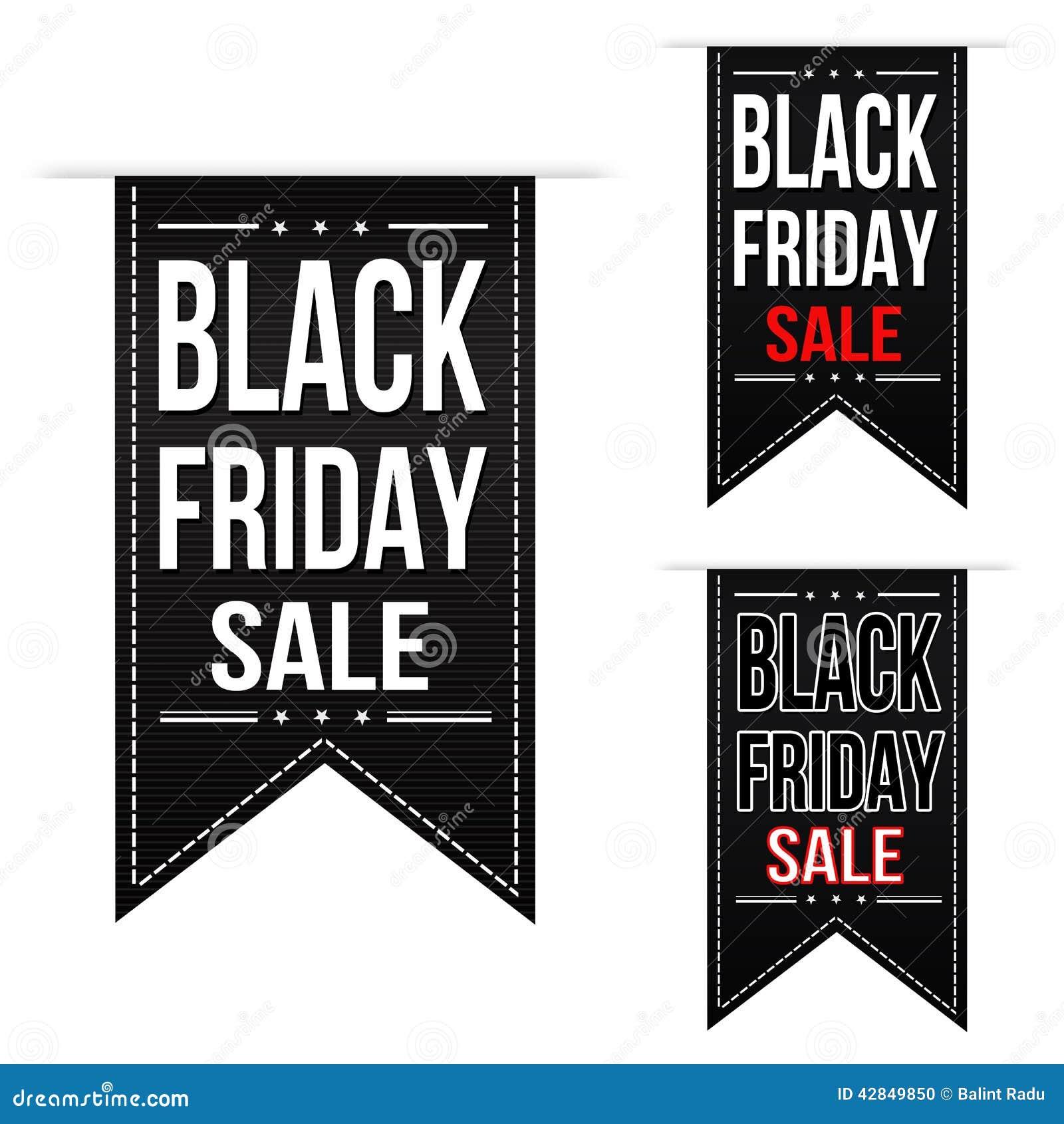 Ensemble noir de conception de bannière de vente de vendredi