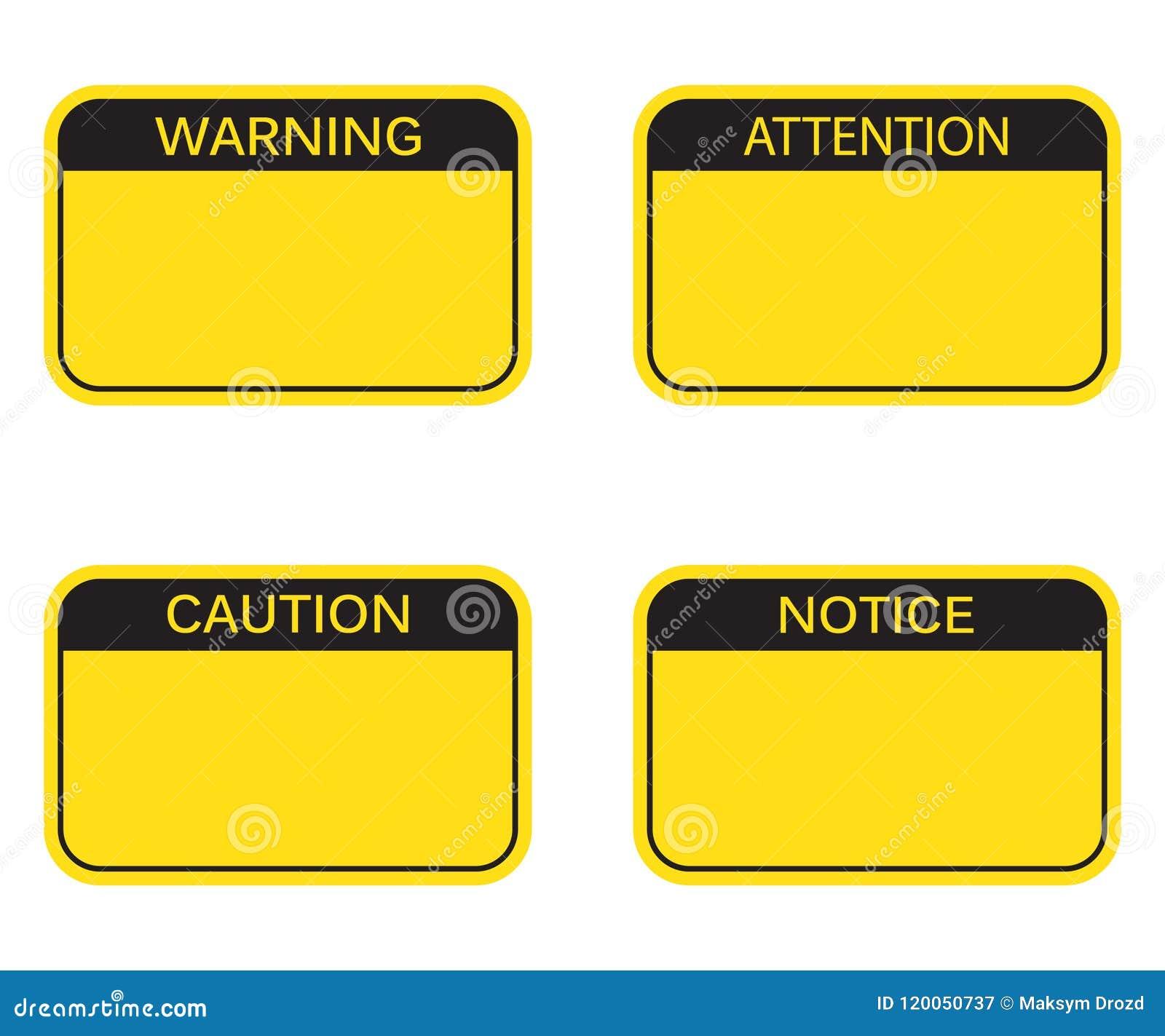 Ensemble : Panneau d avertissement vide de rectangle, signe d attention, signe de précaution, signe d avis