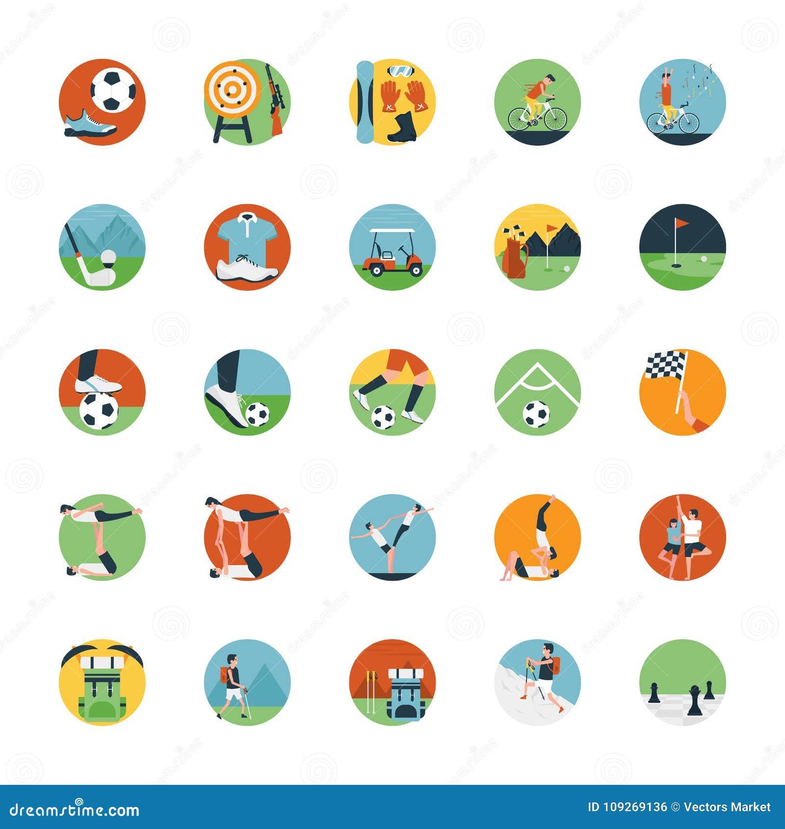 Ensemble plat d icône d icône de sports