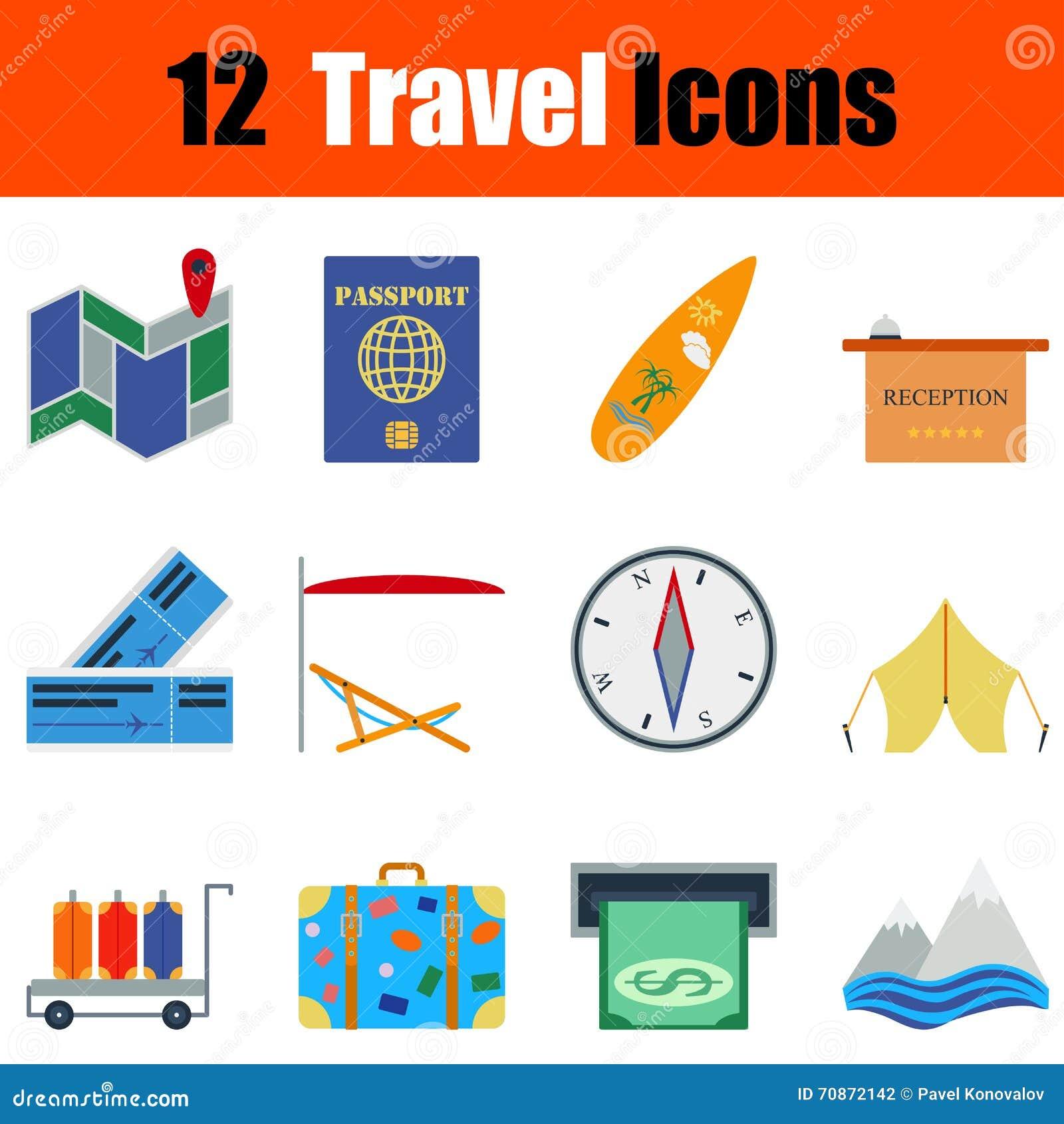 Ensemble plat d icône de voyage de conception