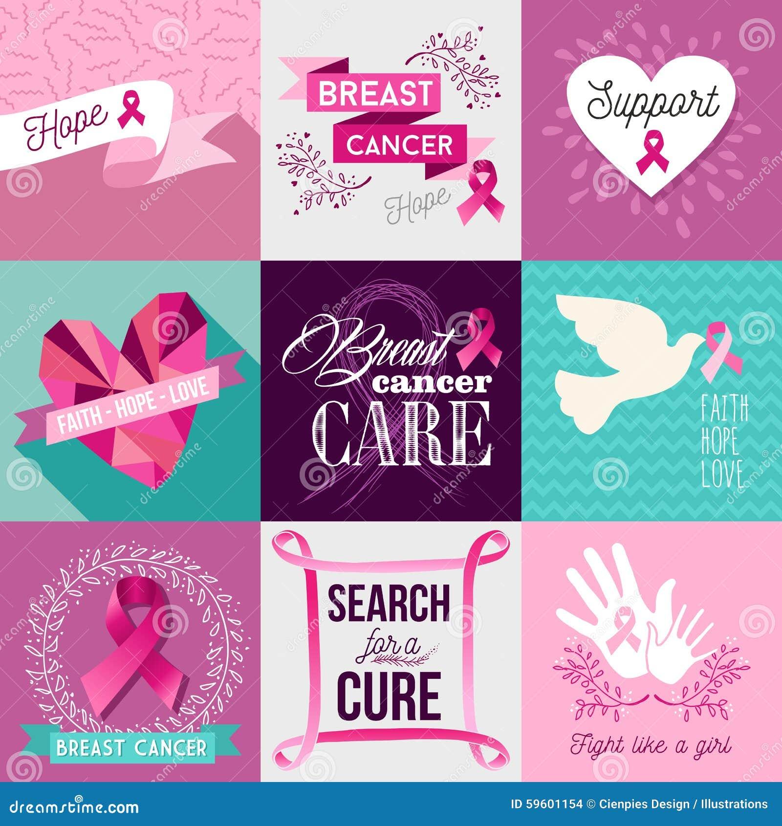 ensemble plat de conception de campagne de sensibilisation de cancer du sein illustration de. Black Bedroom Furniture Sets. Home Design Ideas
