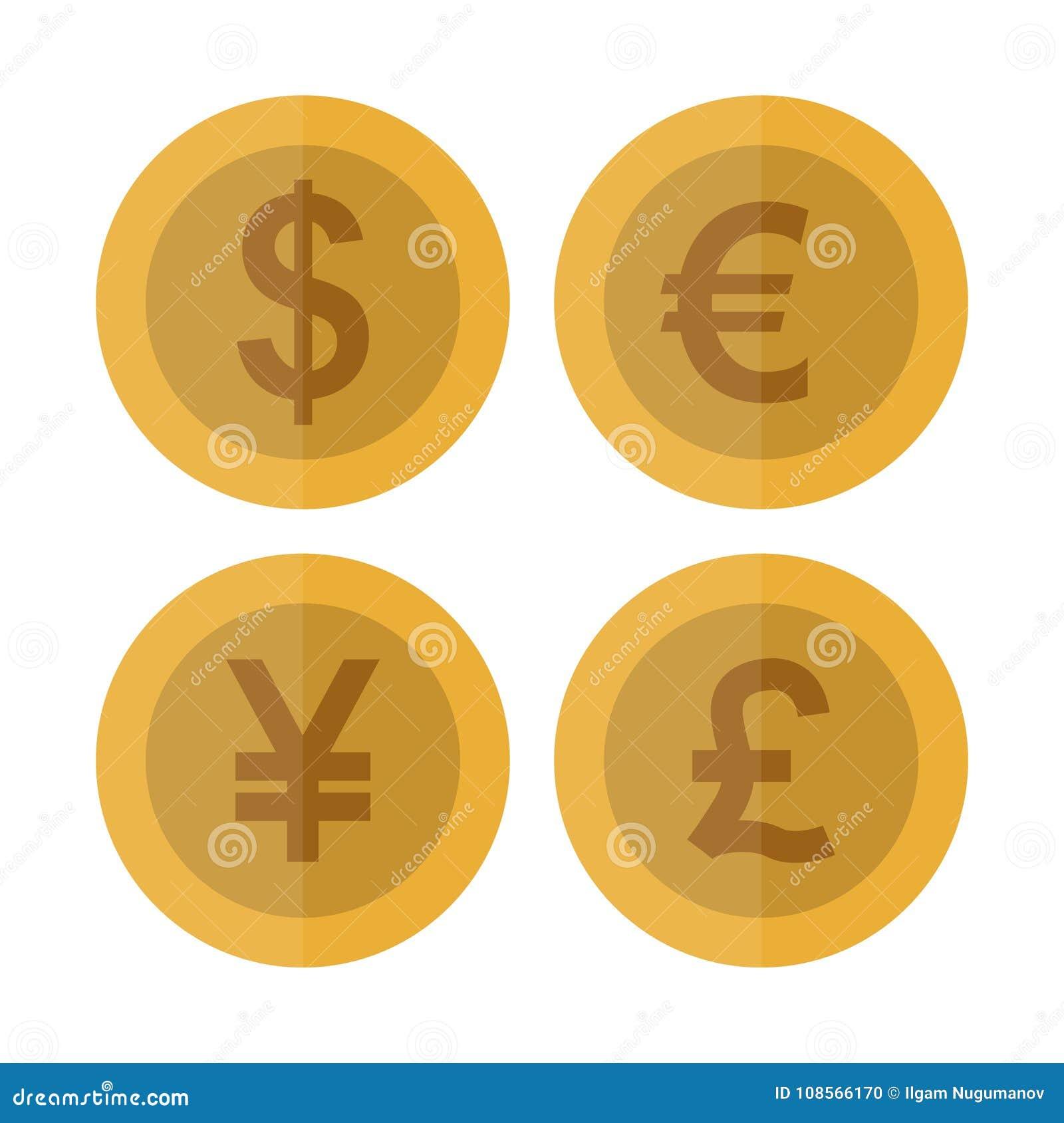Ensemble Plat De Piece De Monnaie De Devise Devise De Casino