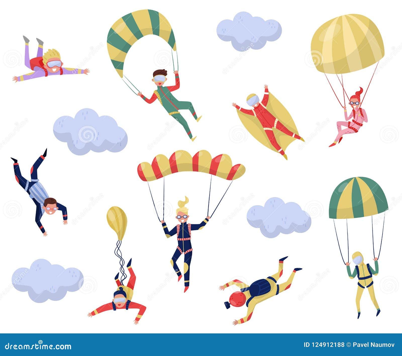 Ensemble plat de vecteur de parachutistes professionnels Sport extrême Jeune pullover de wingsuit Récréation active Thème de para