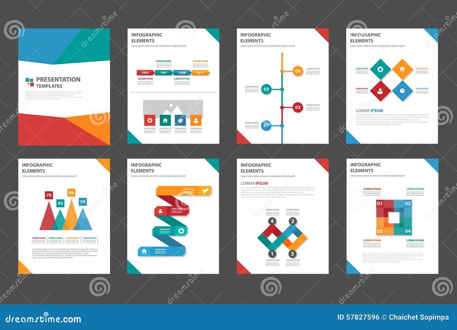 Ensemble plat infographic universel de conception de la présentation 8 et de l élément