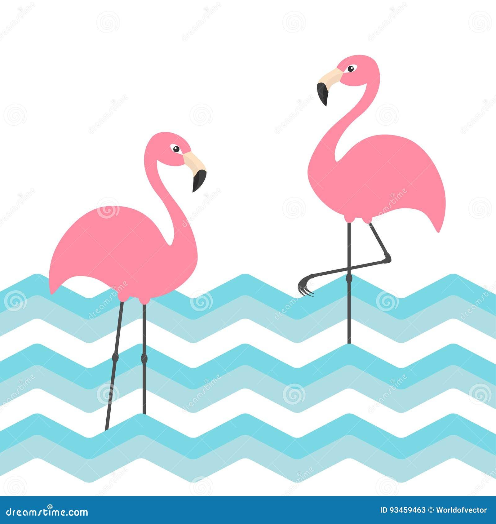 Ensemble rose du flamant deux Vague bleue de zigzag de l eau d océan de mer Oiseau tropical exotique Collection d animal de zoo P
