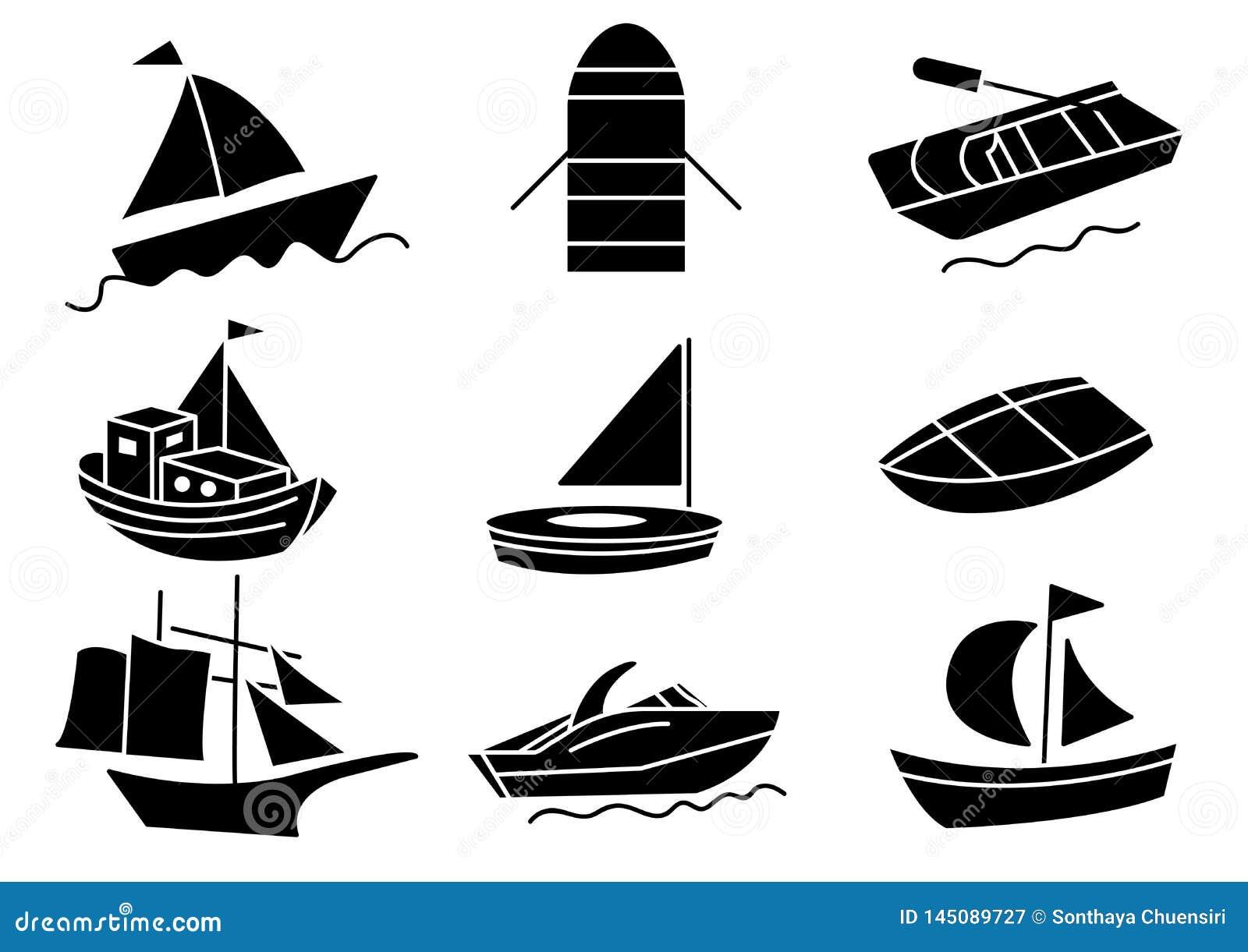 Ensemble solide de bateau d icônes
