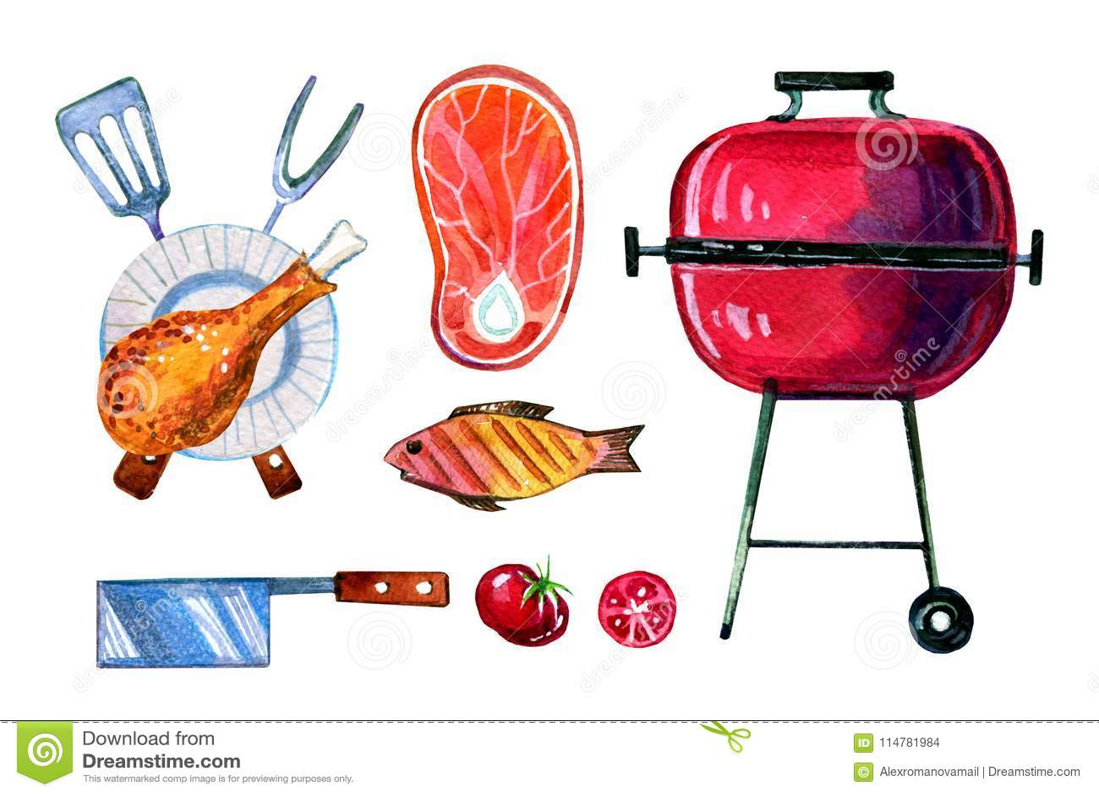 Ensemble tiré par la main d aquarelle de divers objets pour le pique-nique, l été mangeant, le gril et le barbecue