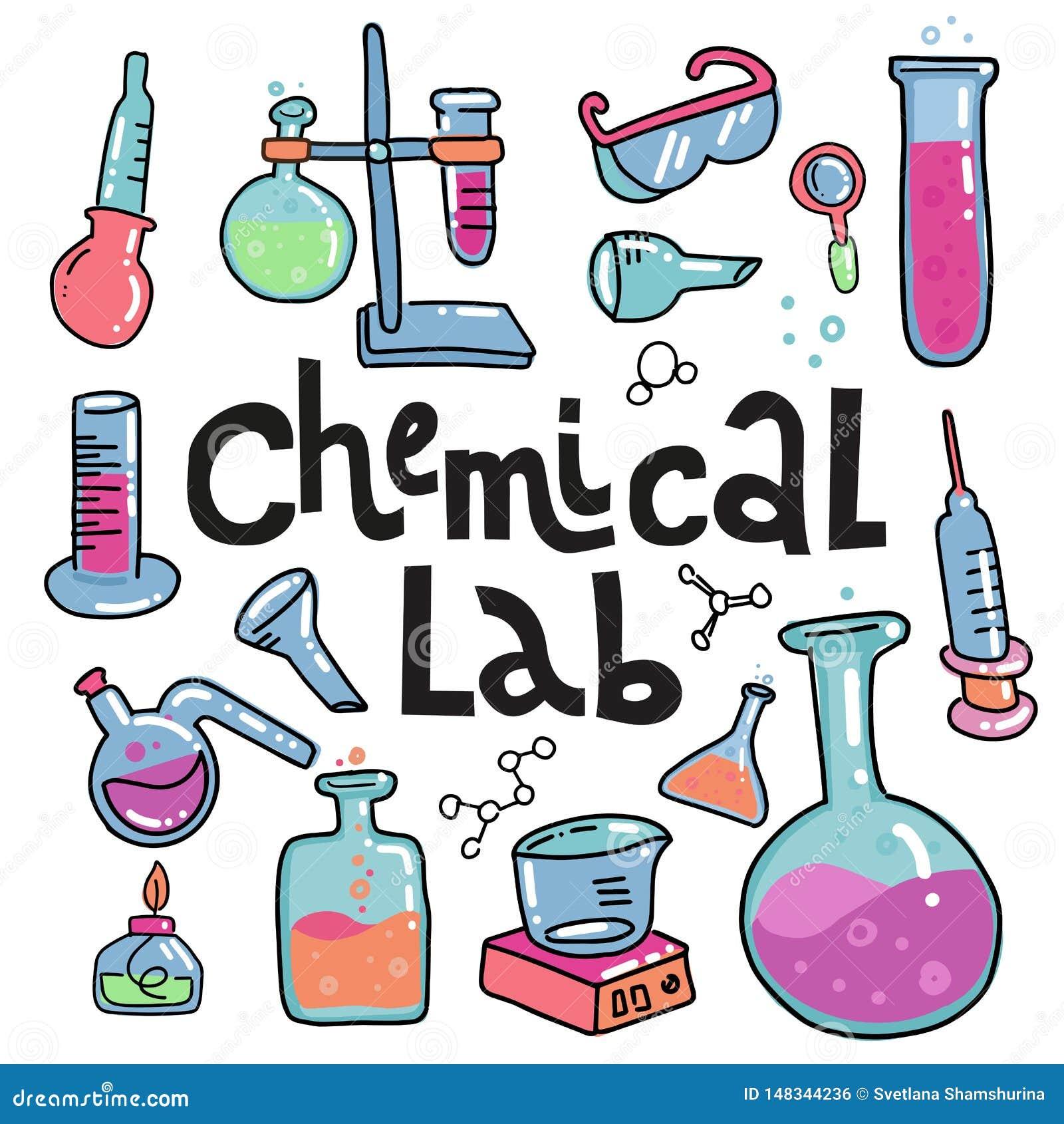 Ensemble tiré par la main d icônes de couleur de chimie et de science Collection d ?quipement de laboratoire dans le style de gri