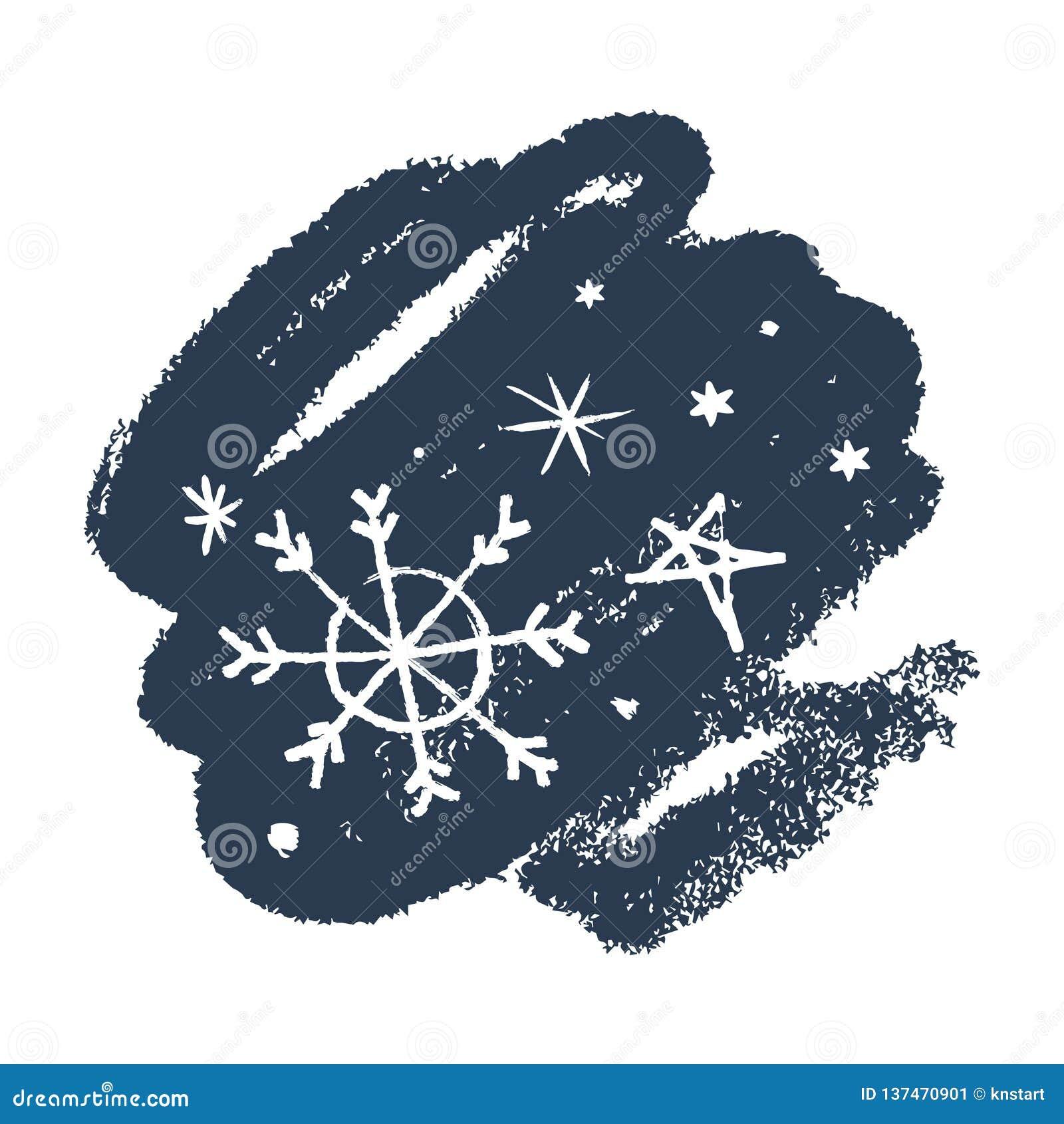 Ensemble tiré par la main d icônes de vecteur de flocons de neige, calomnie de brosse Thème de l hiver