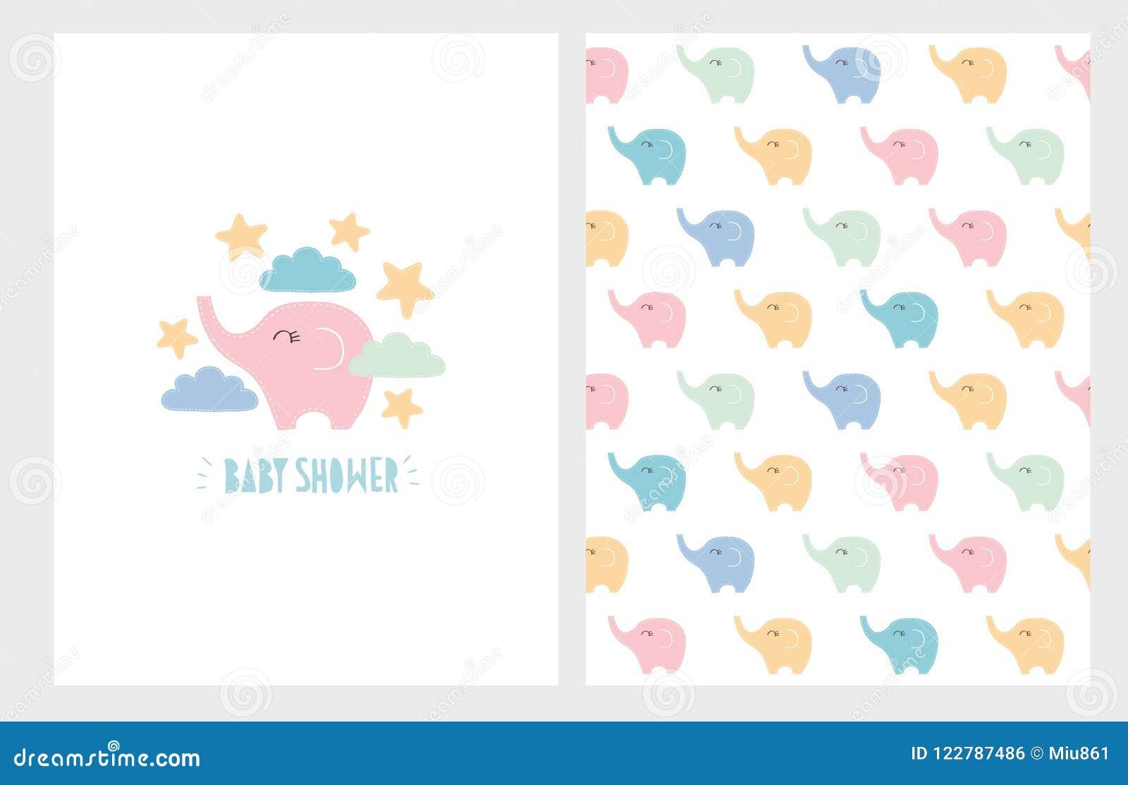 Ensemble tiré par la main d illustration de fête de naissance mignonne Petits carte et modèle d éléphants de couleurs en pastel