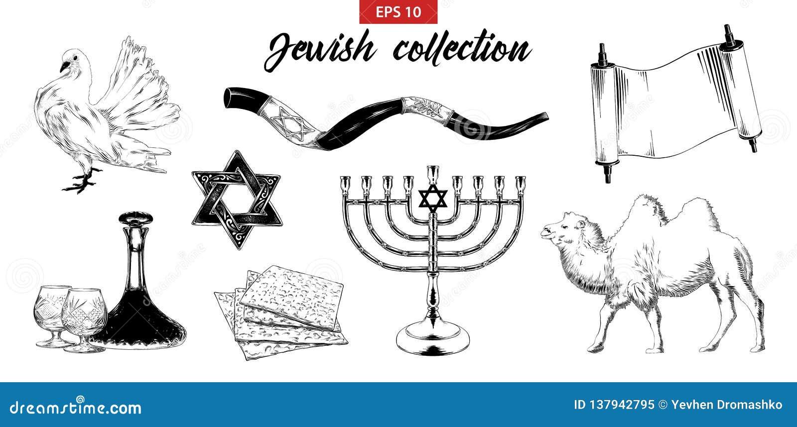 Ensemble tiré par la main de croquis d éléments juifs d isolement sur le fond blanc