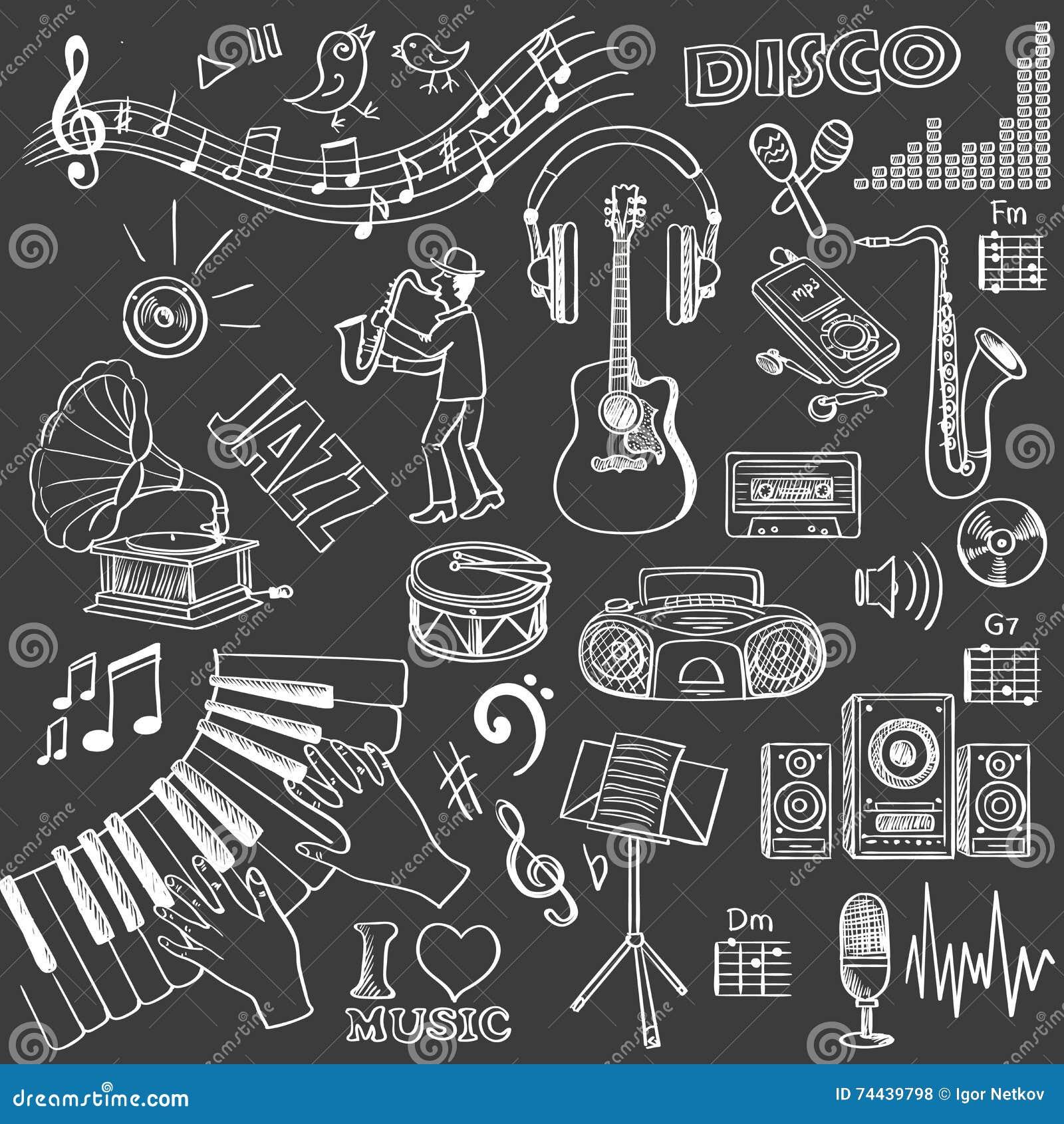Ensemble tiré par la main de musique