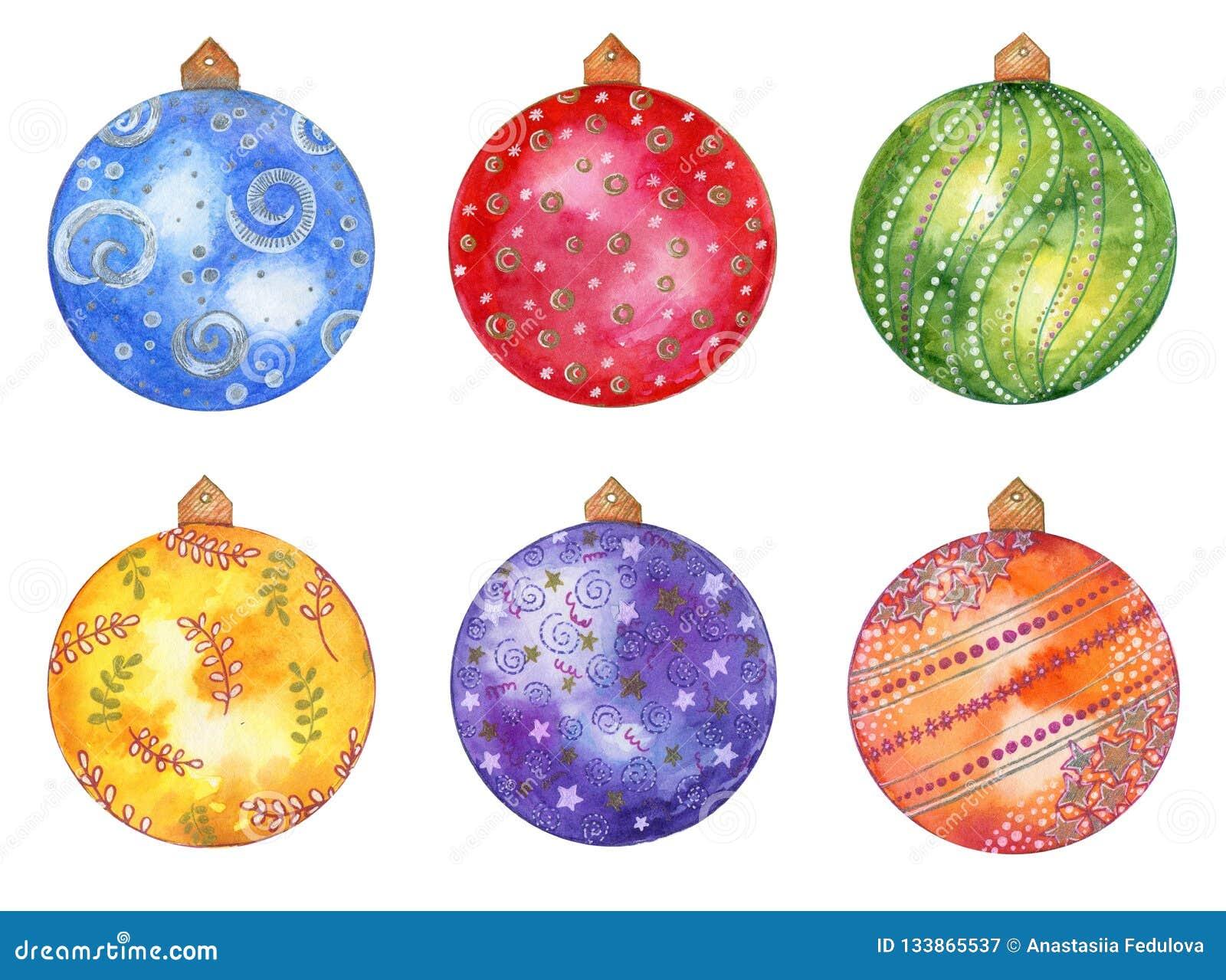 Ensemble tiré par la main de Noël d aquarelle avec les boules colorées d isolement sur le fond blanc