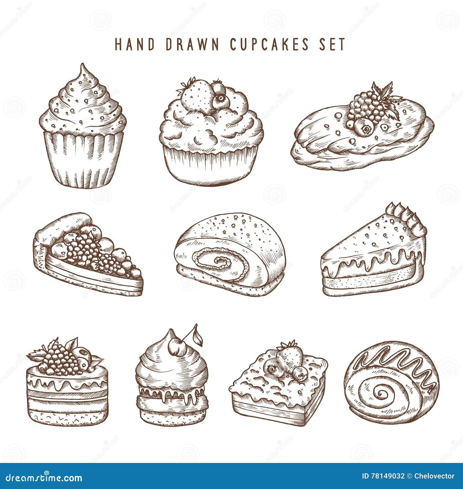 Ensemble tiré par la main de petits gâteaux et de produits de boulangerie Rétro illustration de vintage de vecteur