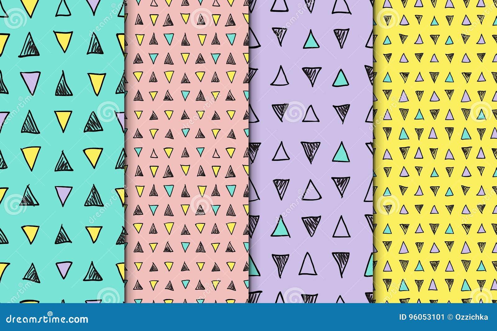 Ensemble tiré par la main sans couture géométrique abstrait de modèle Textures modernes de carte blanche Milieux géométriques col