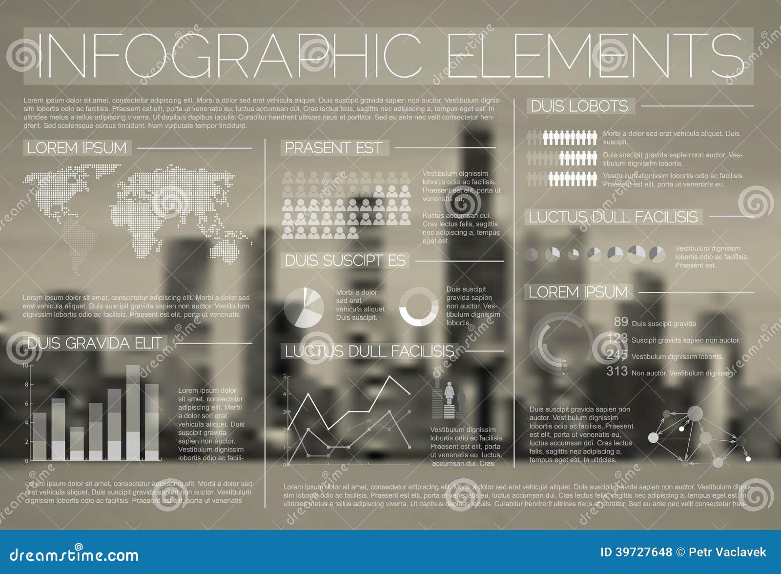 Ensemble transparent de vecteur d éléments d Infographic
