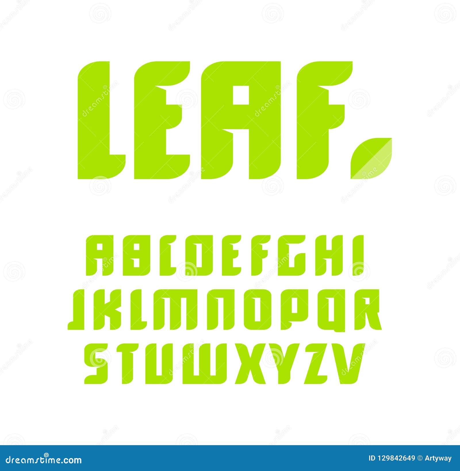 Ensemble vert de lettres Alphabet latin de vecteur Police de produit naturel Feuille ABC, monogramme de nature et calibre d affic