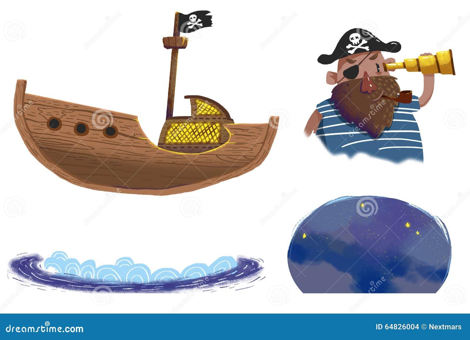 Ensembles D Illustration Le Bateau De Pirates Capitaine De Pirate La Vague La Nuit Etoilee Illustration Stock Illustration Du Pilote Retrait 64826004