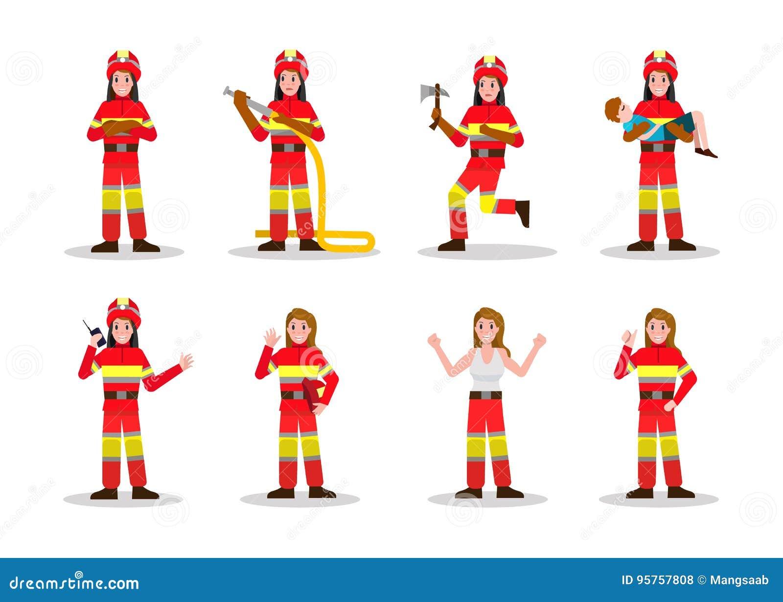 Ensembles de lutte contre l incendie Conception de personnages de femme du feu dans les beaucoup pose