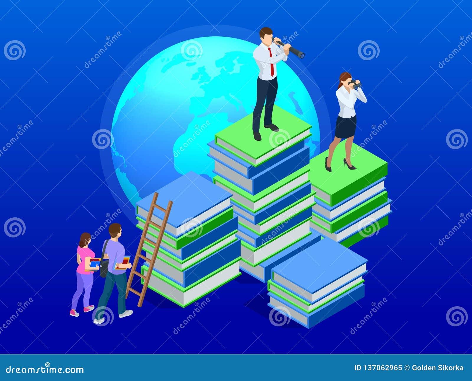 Ensino à distância isométrico, cursos em linha, ensino eletrónico, conceito dos cursos Treinamento, aprendizagem em linha, Webina